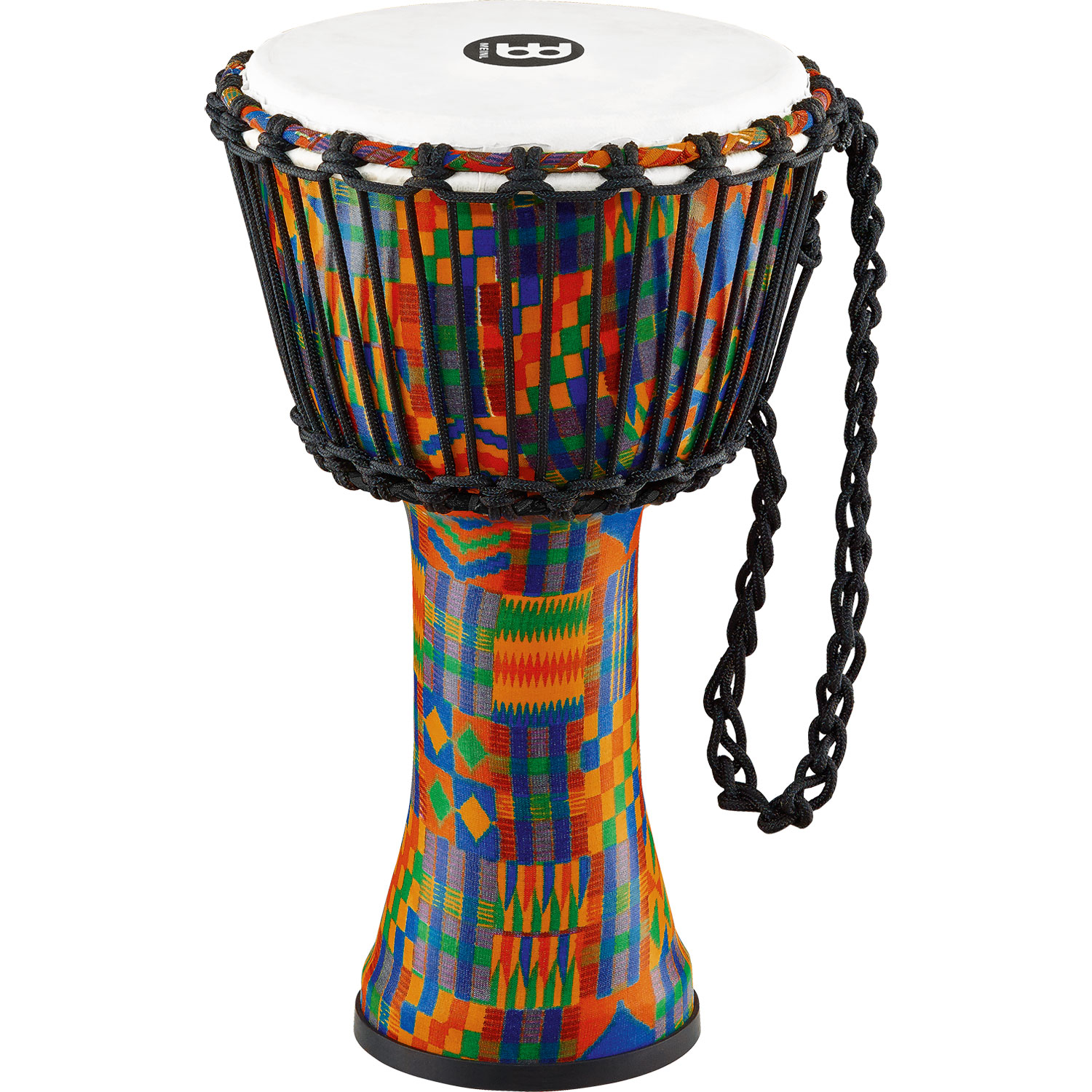 """Meinl 8"""" Rope-Tuned Travel Djembe in Kenyan Quilt with Synthetic Head"""