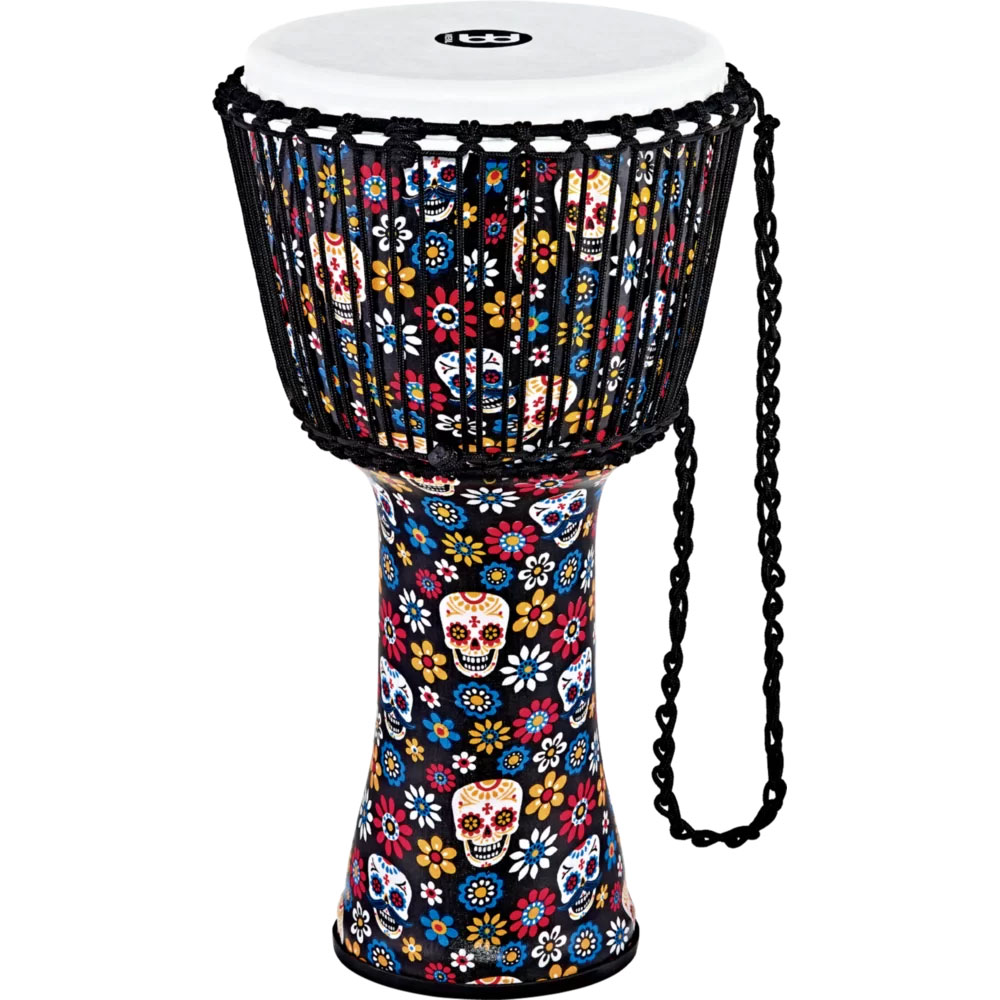 "Meinl 12"" Day of the Dead Rope Tuned Djembe with Synthetic Head"
