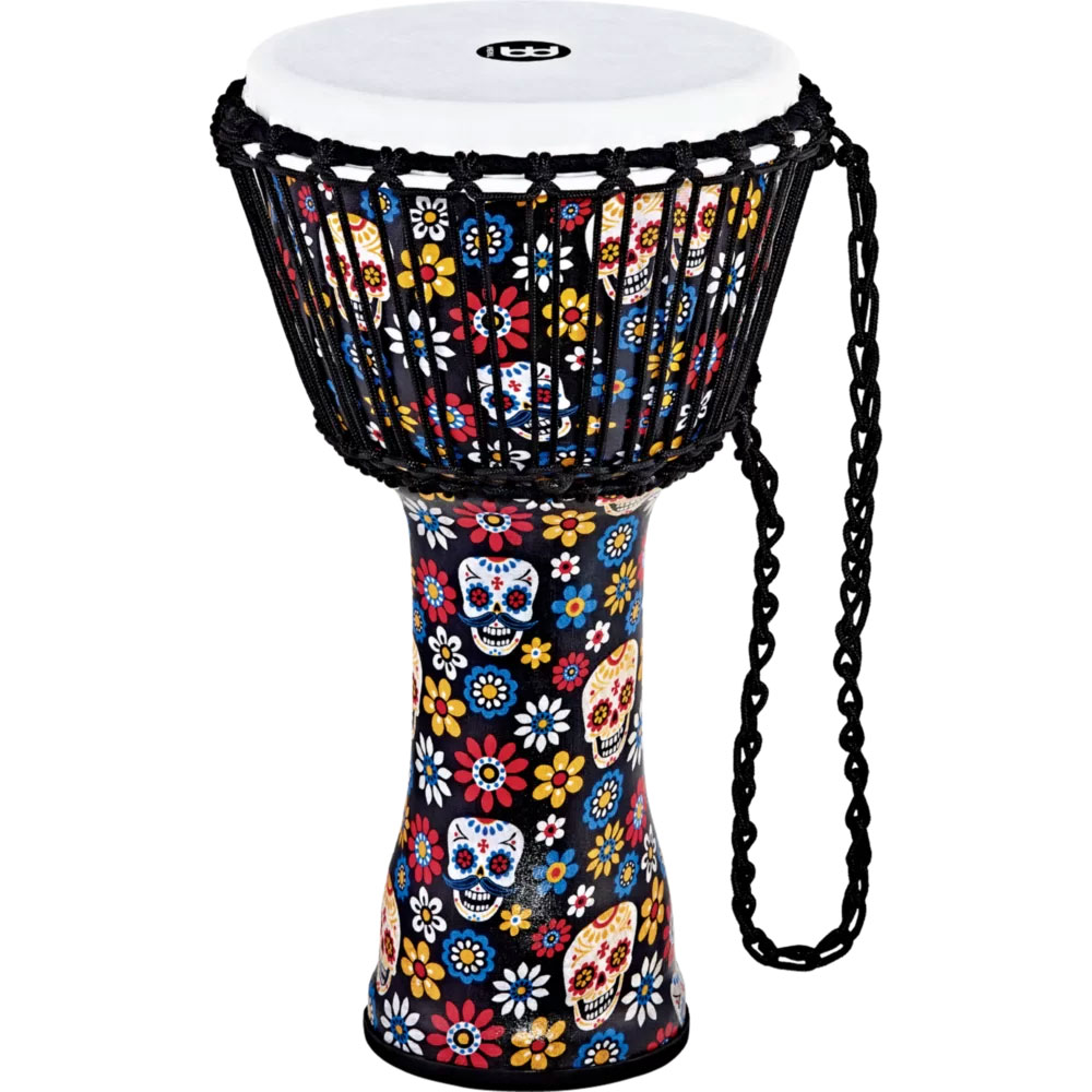 "Meinl 10"" Day of the Dead Rope Tuned Djembe with Synthetic Head"