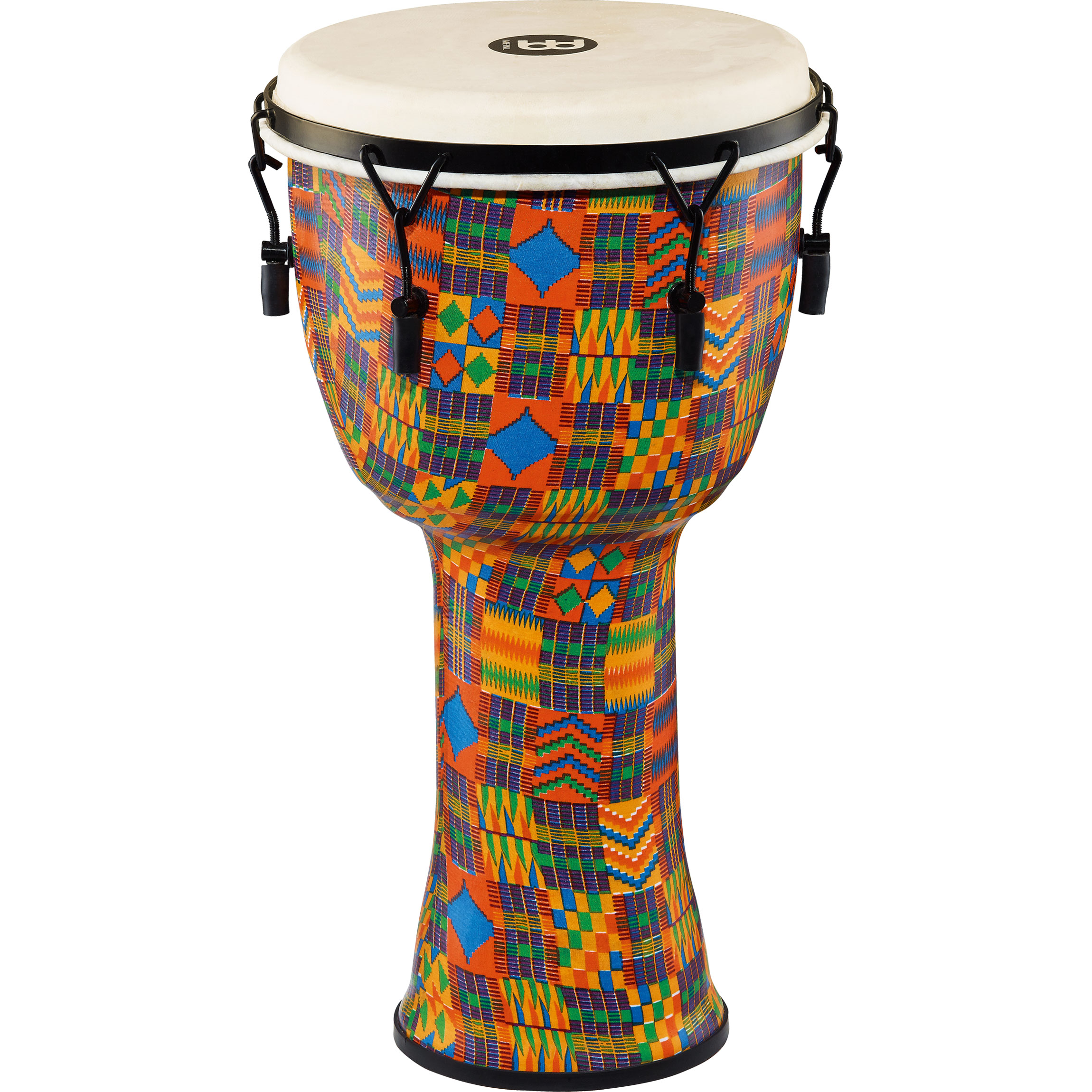 """Meinl 12"""" Mechanically-Tuned Travel Djembe in Kenyan Quilt with Natural Head"""