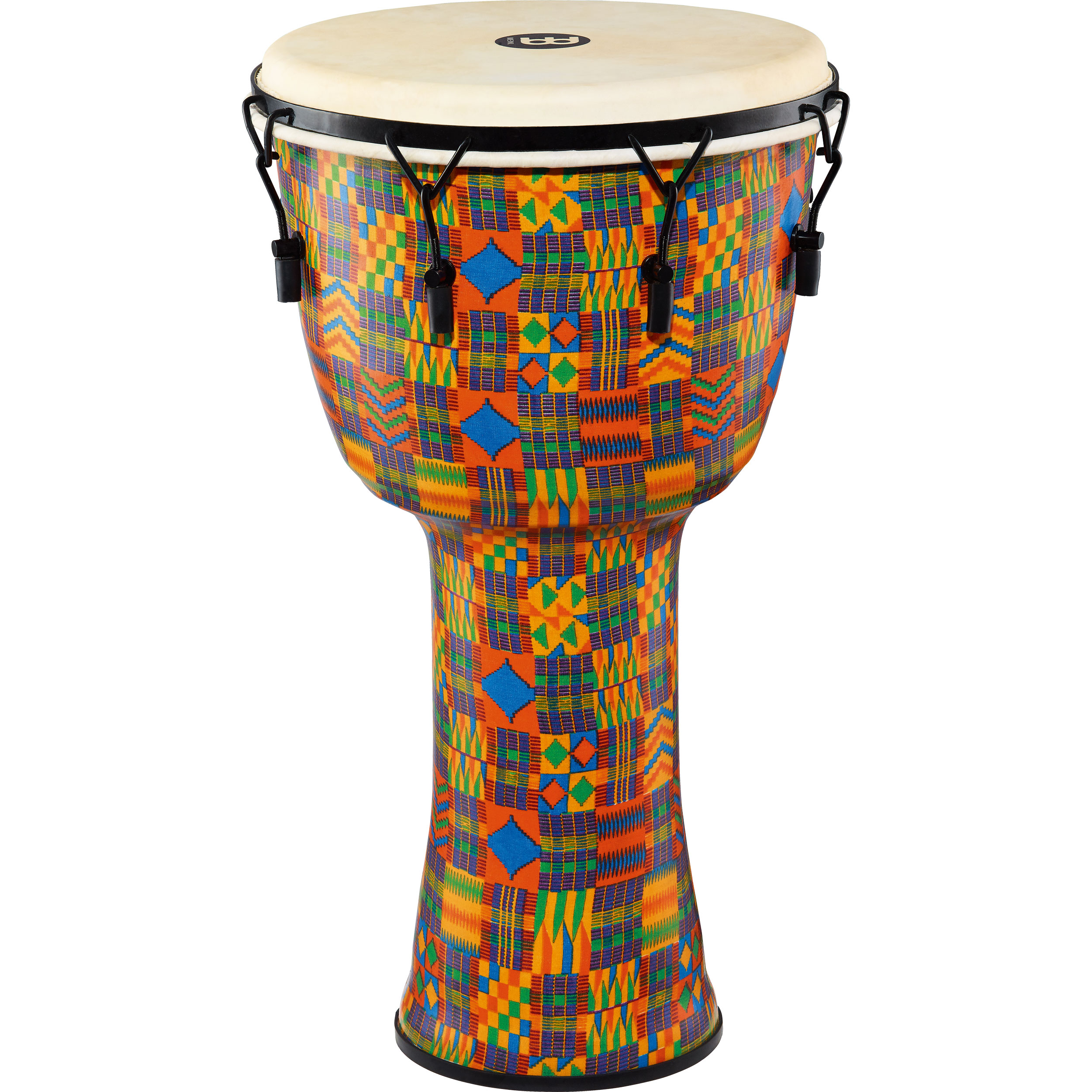 """Meinl 14"""" Mechanically-Tuned Travel Djembe in Kenyan Quilt with Natural Head"""