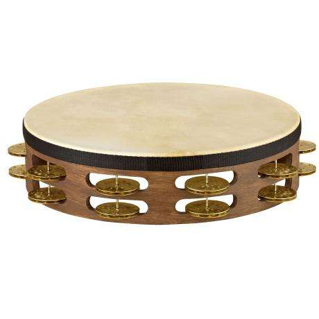 Meinl Vintage Wood Double-Row Hammered Brass Tambourine (Natural Head)