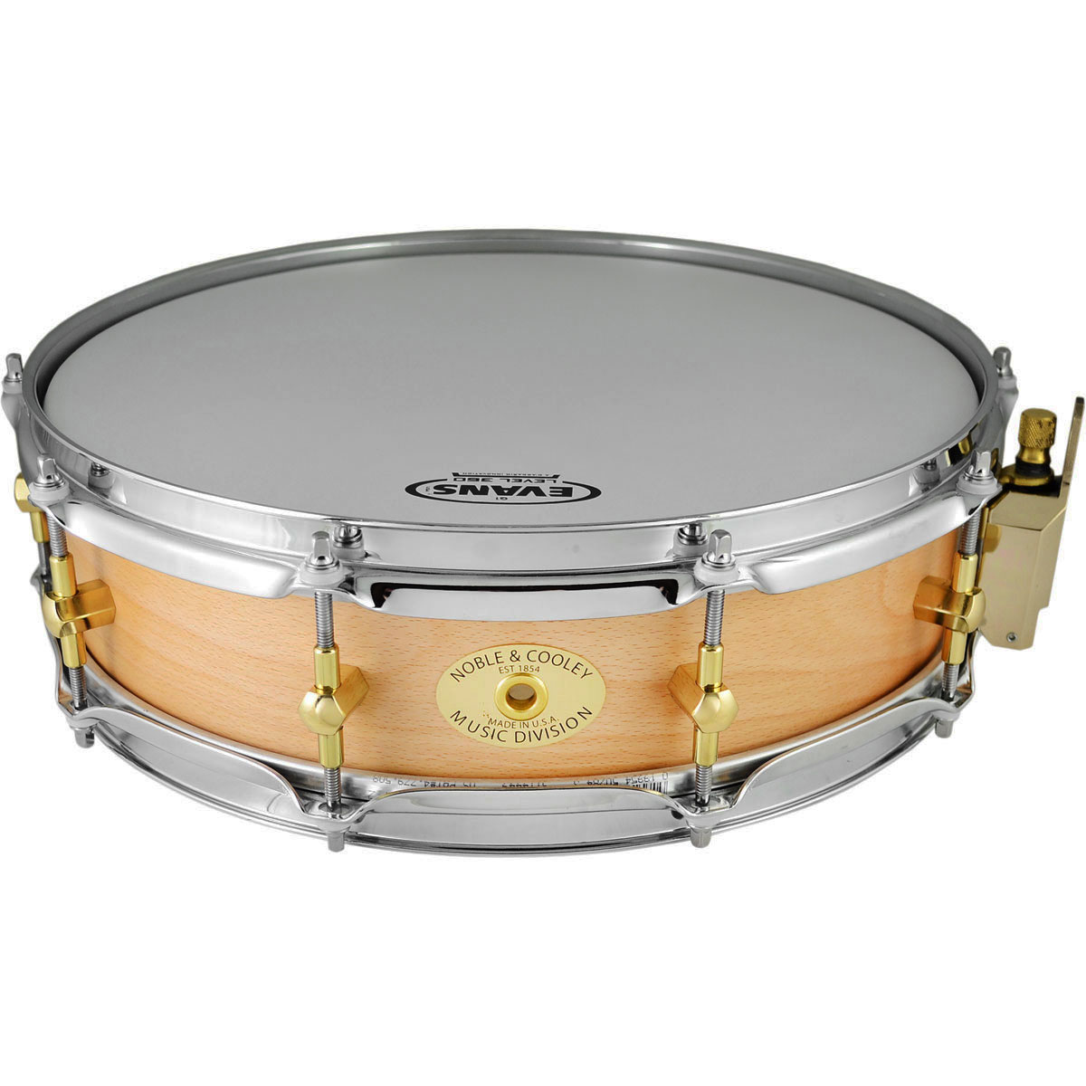 """Noble & Cooley 3 7/8"""" x 14"""" Classic Solid Shell Beech Piccolo Snare Drum in Clear Oil"""