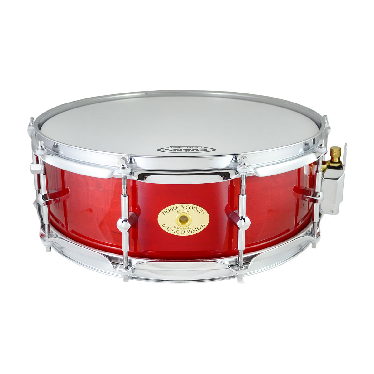 """Noble & Cooley 5"""" x 14"""" Classic Solid Shell Birch Snare Drum in Translucent Red Gloss"""