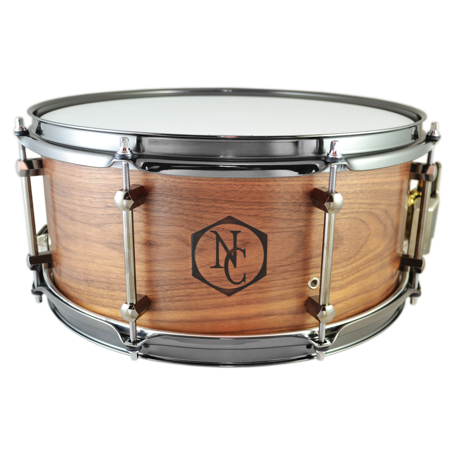 """Noble & Cooley 6"""" x 14"""" Walnut Snare Drum with Black Chrome Hardware"""