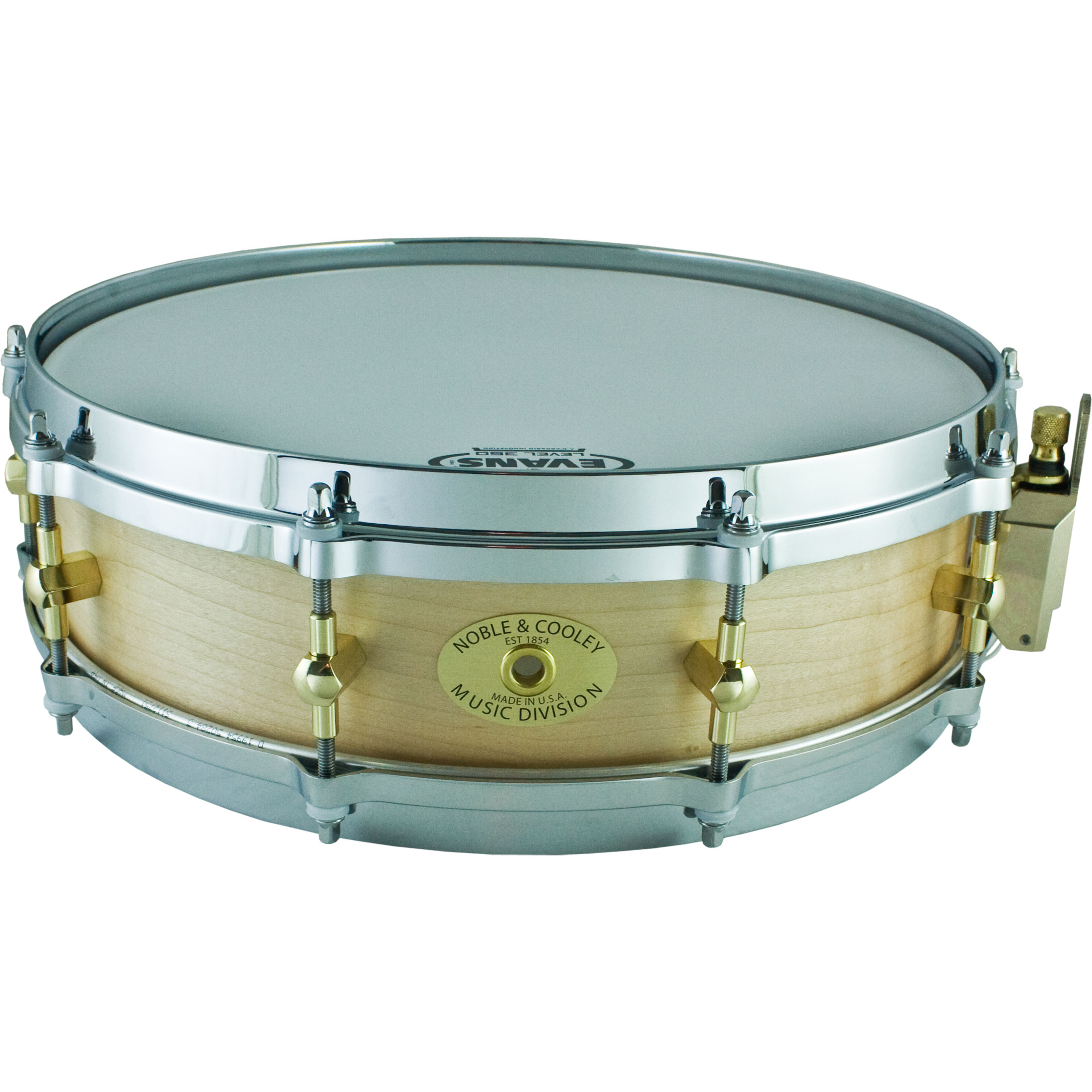 "Noble & Cooley 3 7/8"" x 14"" Classic Solid Shell Maple Piccolo Snare Drum in Honey Maple Stain Oil"