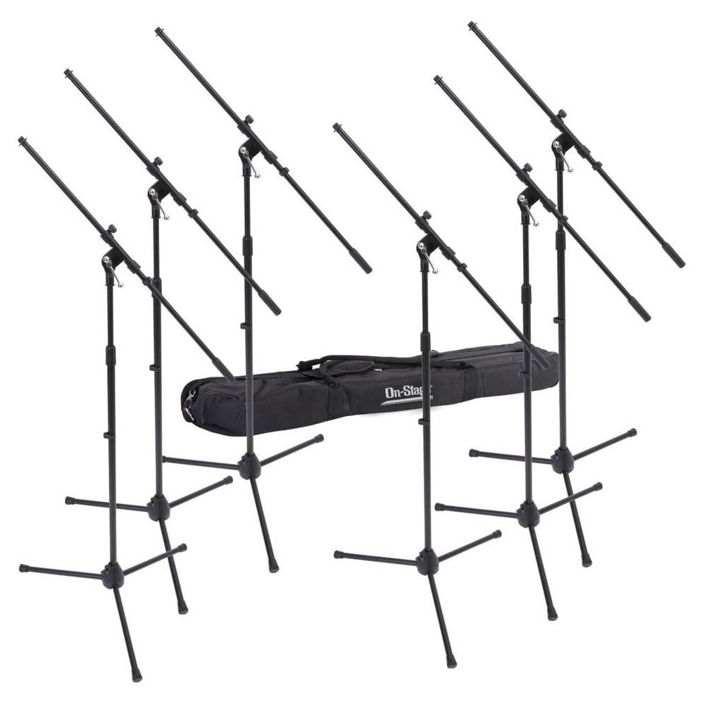 On Stage Euro Boom Microphone Stands with Bag (6-Pack)