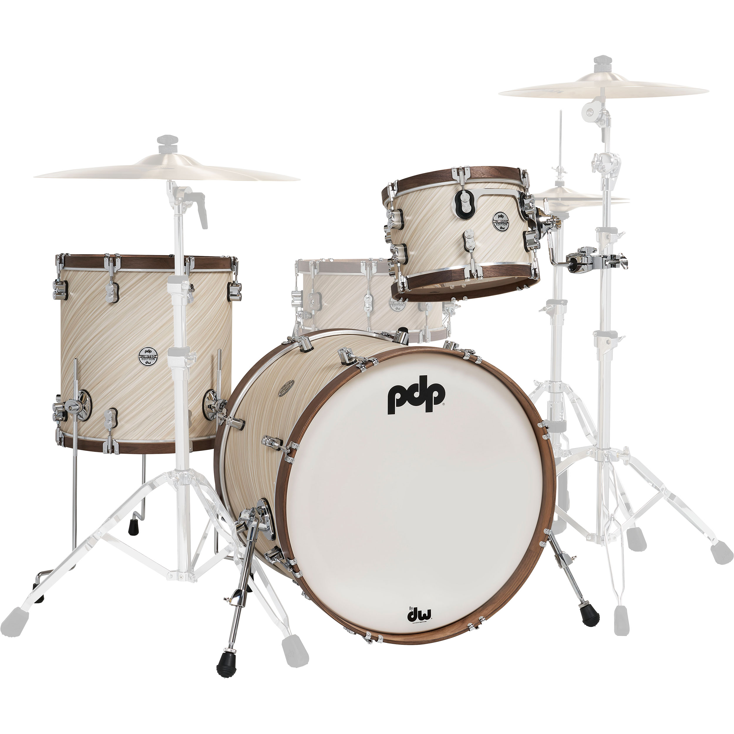"PDP Limited Edition 3-Piece Drum Set Shell Pack (22"" Bass, 12/16"" Toms) in Twisted Ivory with Walnut Hoops"