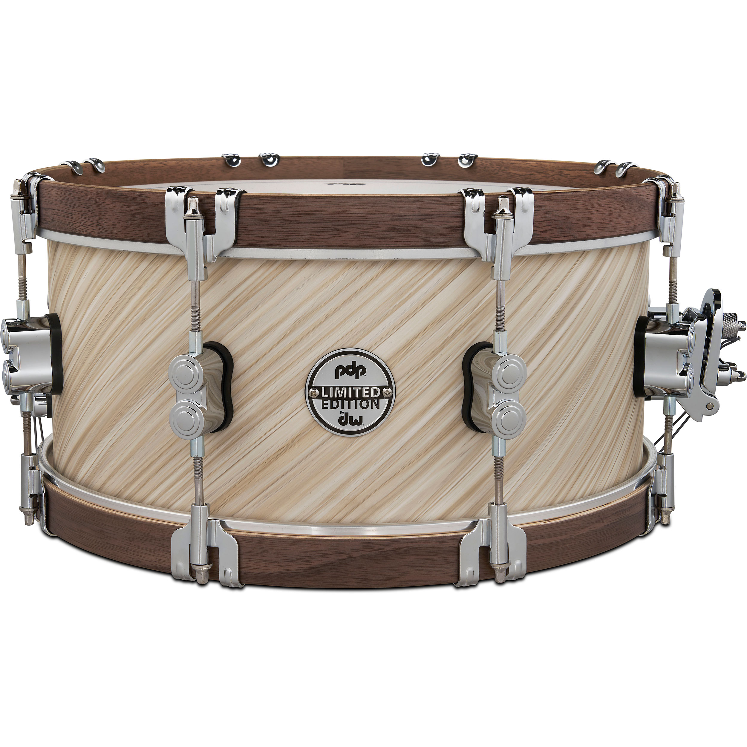 """PDP 6.5"""" x 14"""" Limited Edition Snare Drum in Twisted Ivory with Walnut Hoops"""