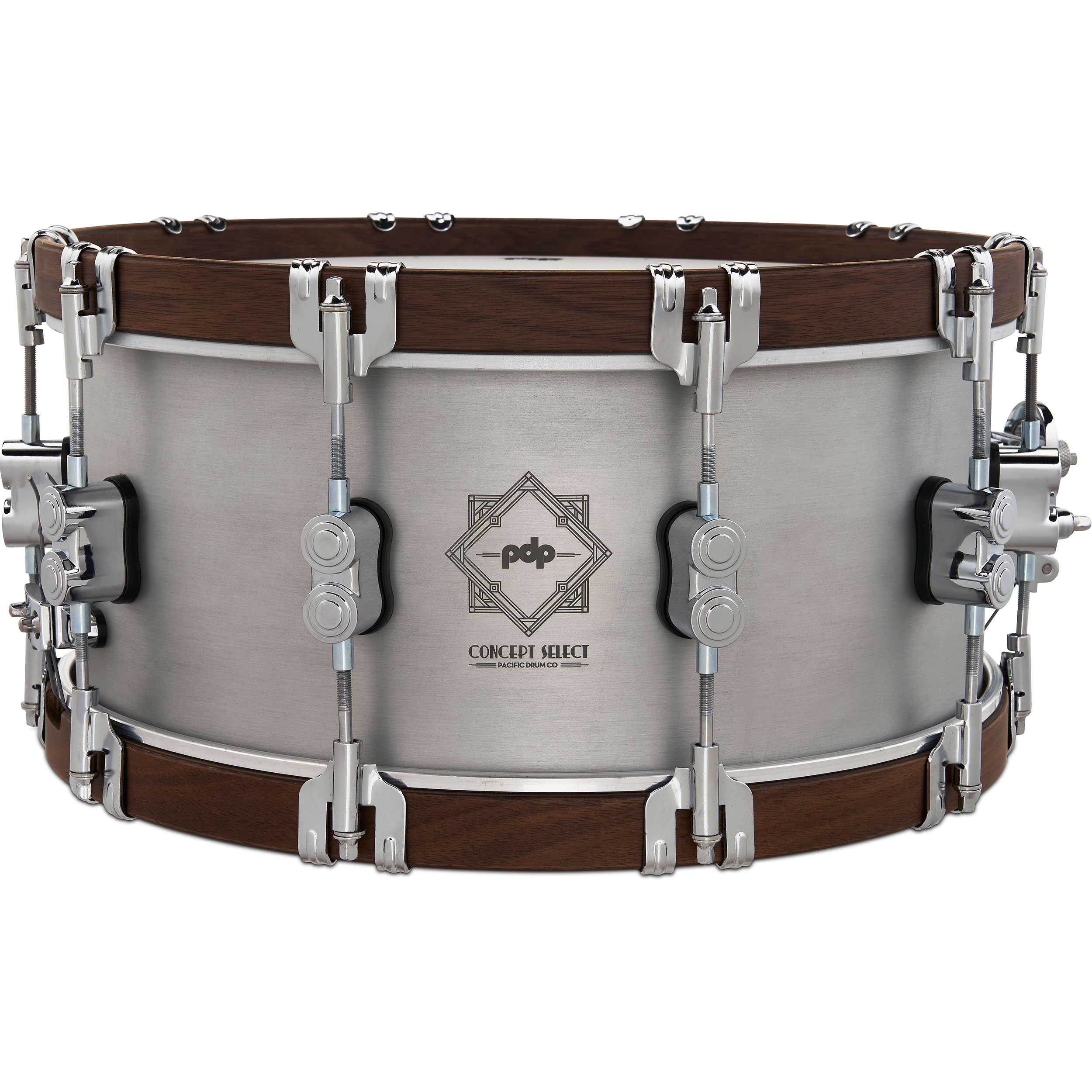 "PDP 6.5"" x 14"" Concept Select 3mm Aluminum Snare Drum with Wood Hoops"