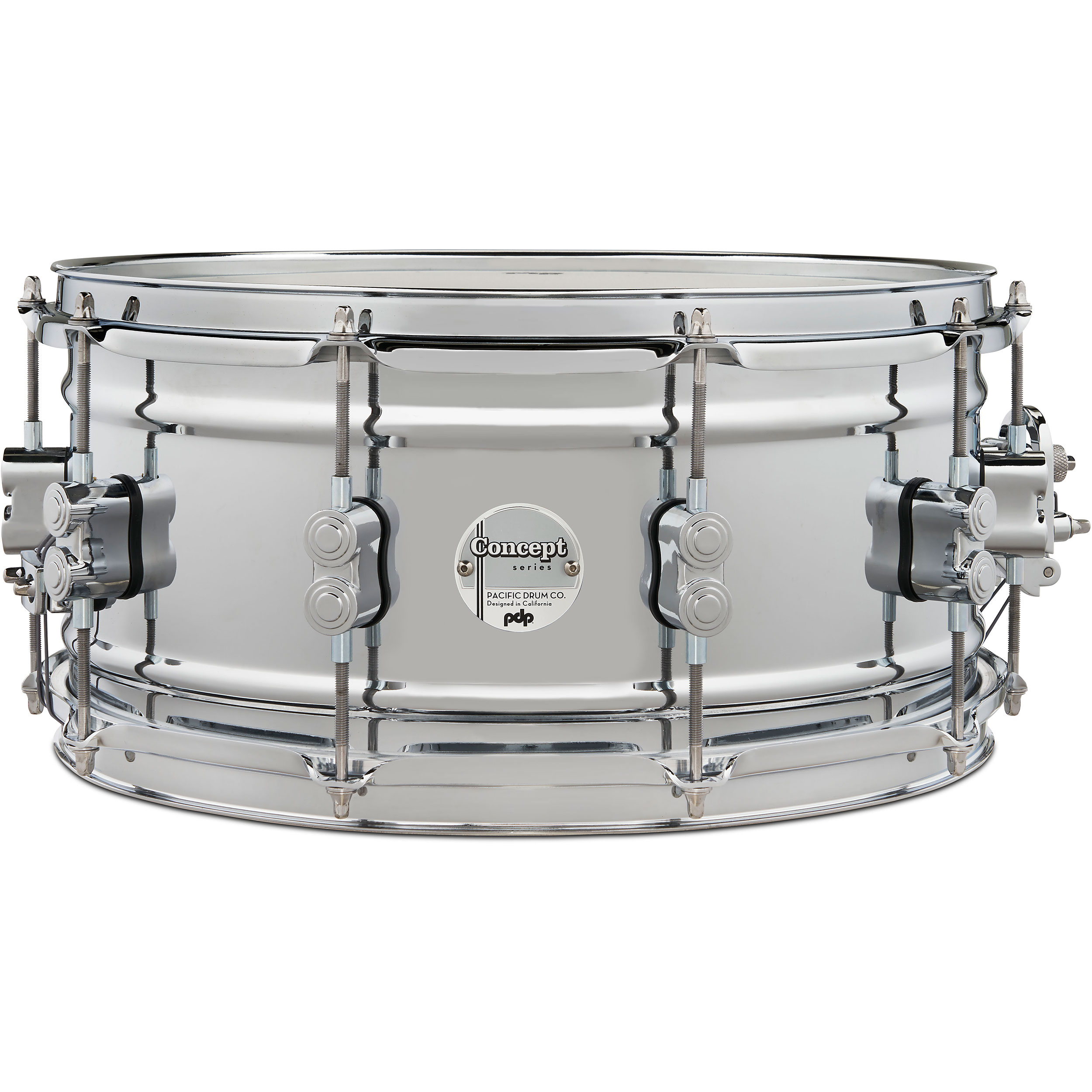 """PDP 6.5"""" x 14"""" Concept 1mm Chrome Over Steel Snare Drum"""