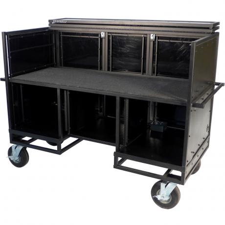 Pageantry Innovations Stealth Series Seated Synthesizer/Mixer Combo Cart with Bi-Fold Top Cover