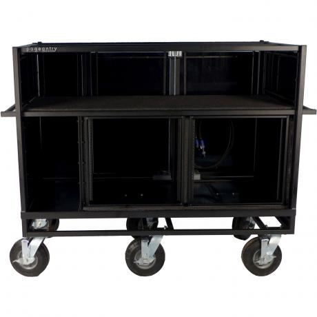 Pageantry Innovations Stealth Series Extended Double Mixer Cart with Bi-Fold Top Cover