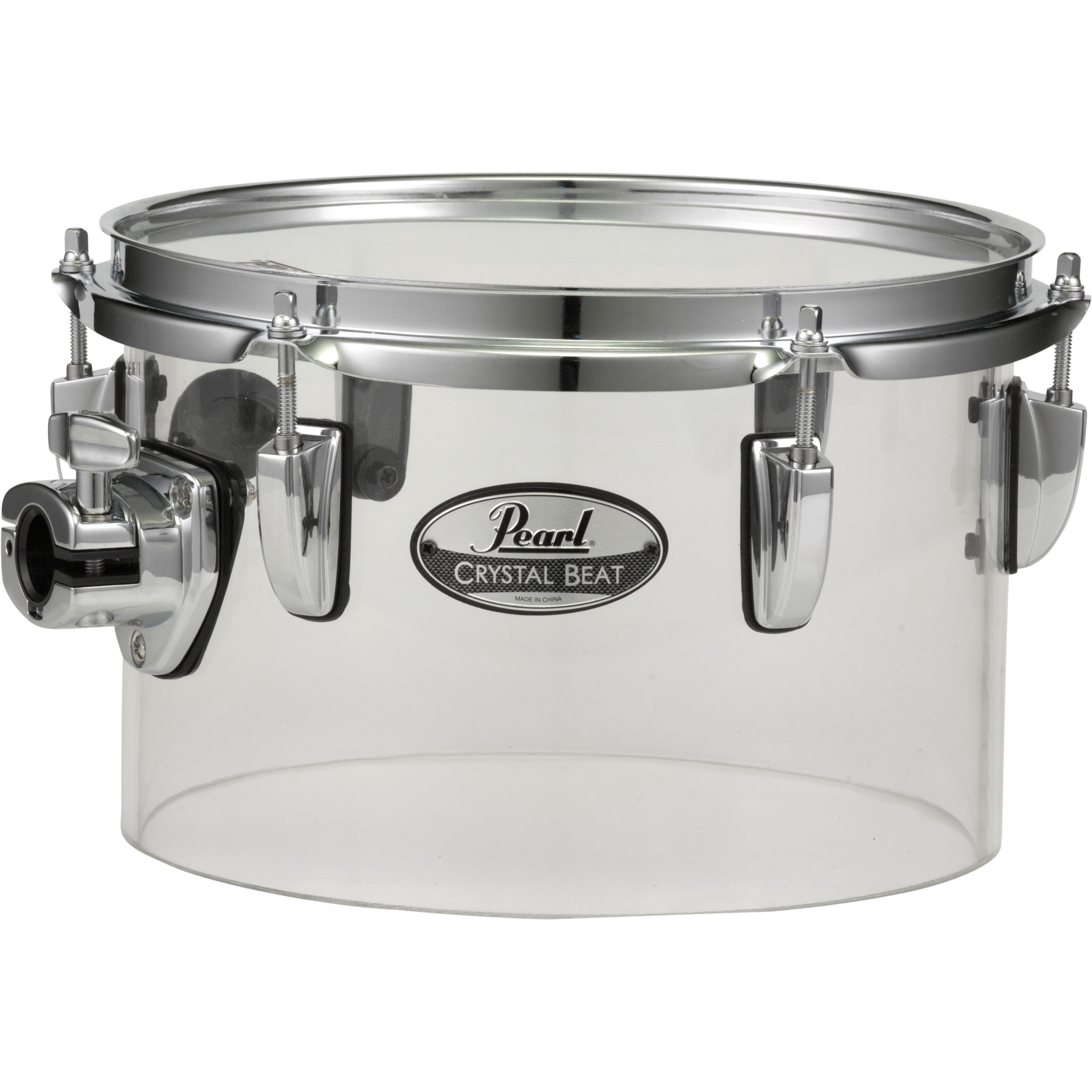 "Pearl 10"" (Diameter) x 6.5"" (Deep) Crystal Beat Single-Headed Concert Tom in Ultra Clear"