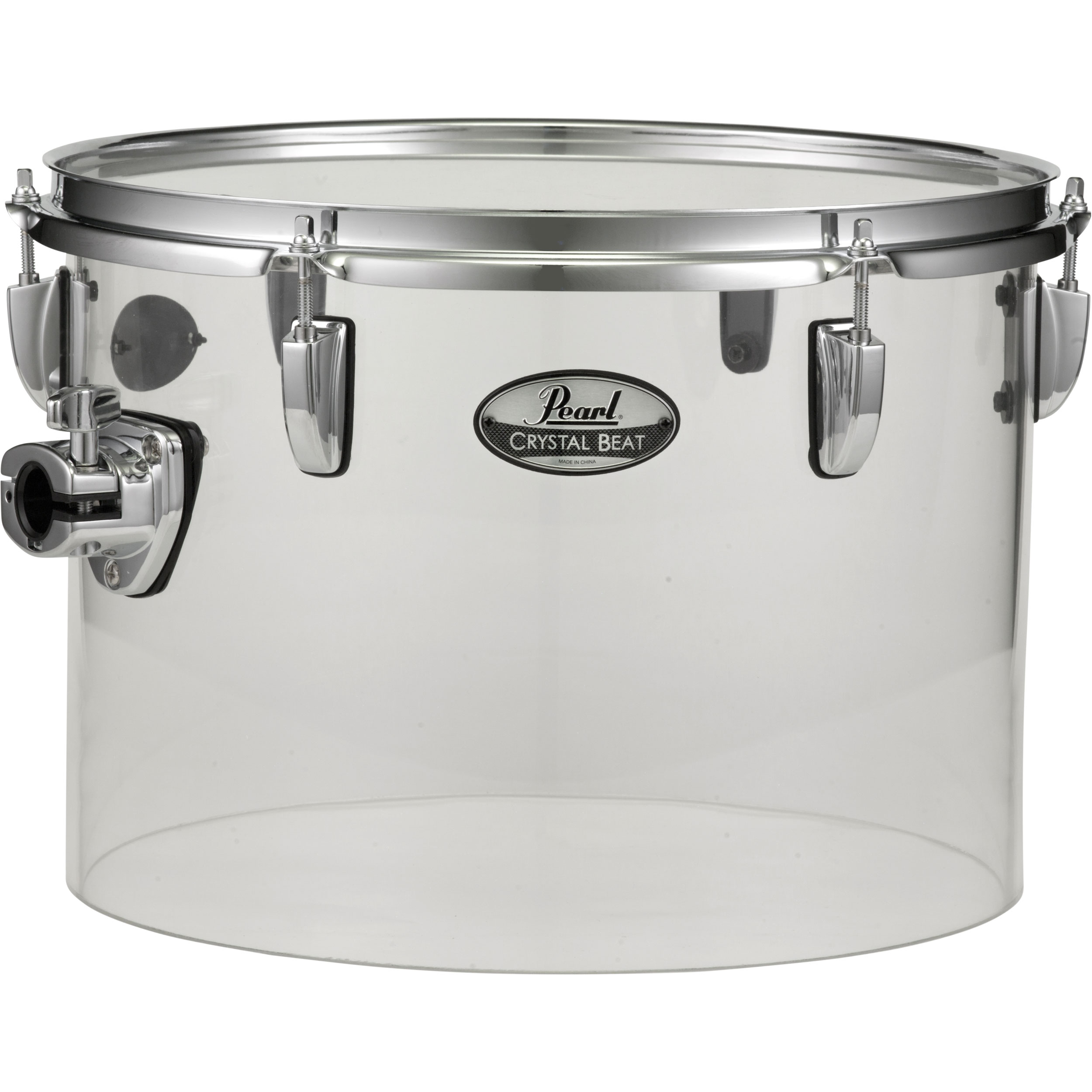 "Pearl 13"" (Diameter) x 9"" (Deep) Crystal Beat Single-Headed Concert Tom in Ultra Clear"