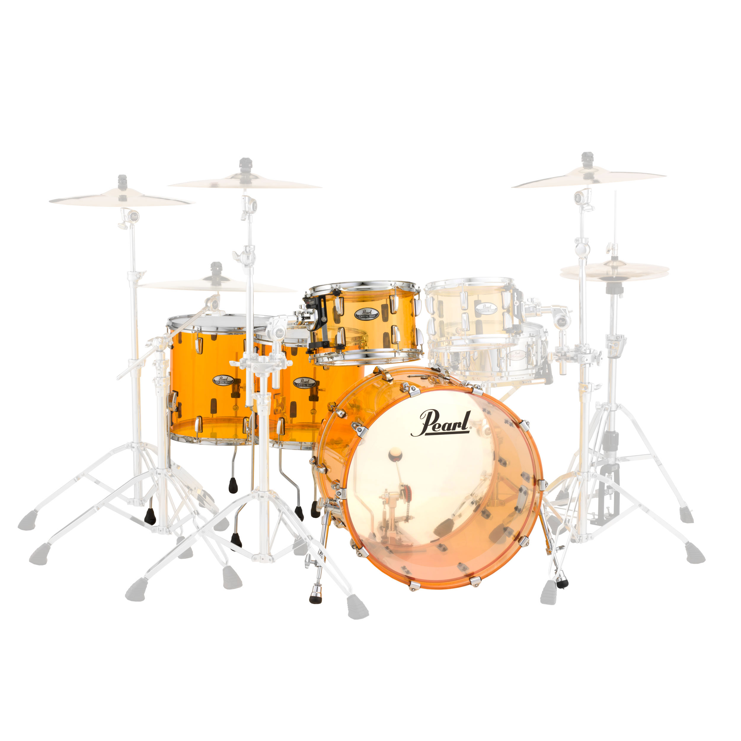 "Pearl Crystal Beat ""One Up Two Down"" Acrylic 4-Piece Drum Set Shell Pack (22"" Bass, 12/14/16"" Toms)"