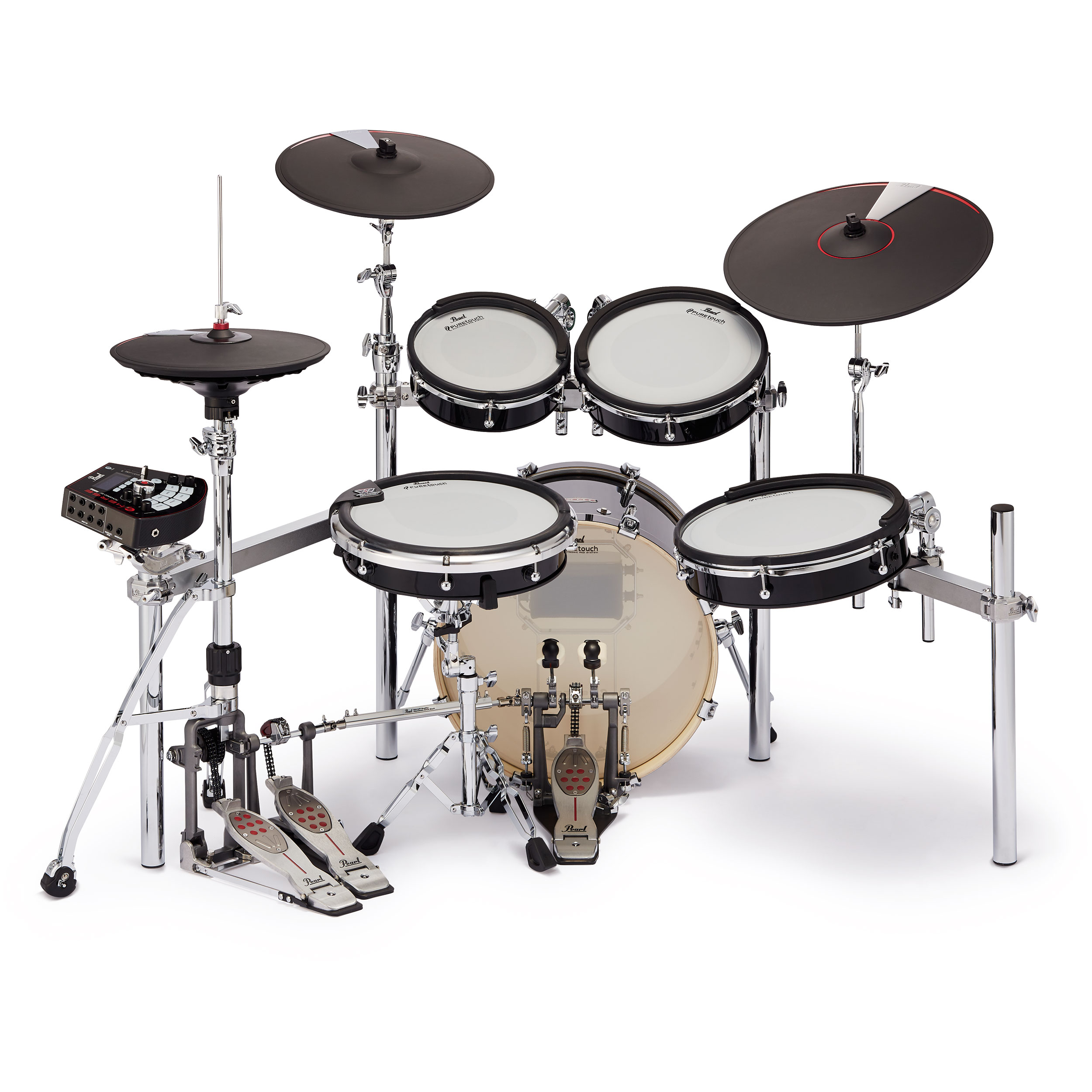 """Pearl e/MERGE 5-Piece Hybrid Electronic Drum Set with Hardware and Cymbal Pads (18"""" Bass, 10/12/14"""" Toms, and 14"""" Snare Pads)"""