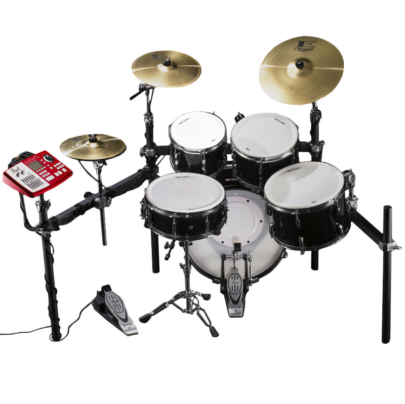 """Pearl EPAD-25S Electronic Drum Set with 10-12-14-16"""" Tru-Trac Heads, Bass Pad, Module & Plastic"""