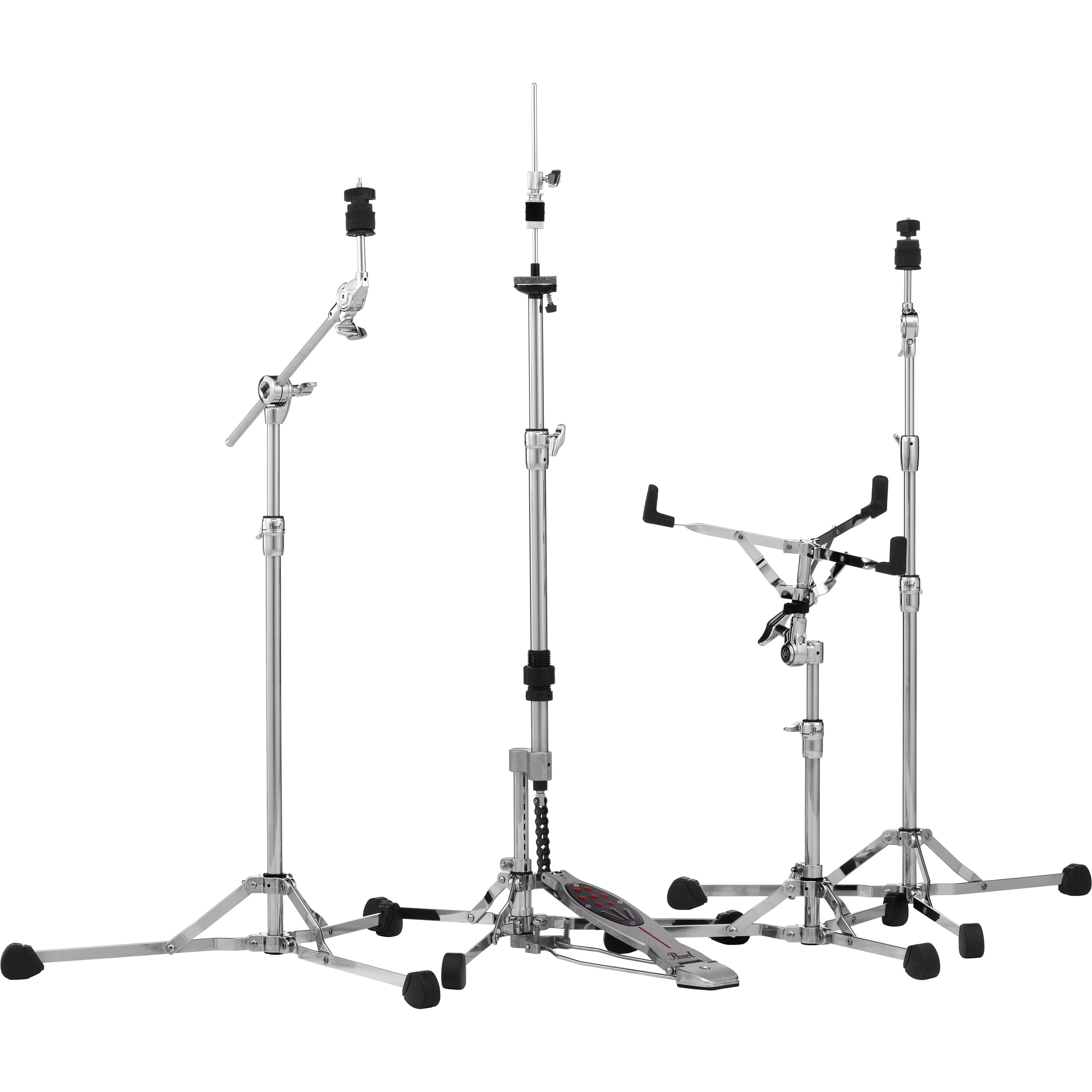 Pearl HWP150S Lightweight 150 Series Flat Base Hardware Pack (Snare, Straight & Boom Cymbal, and Hi Hat Stands)