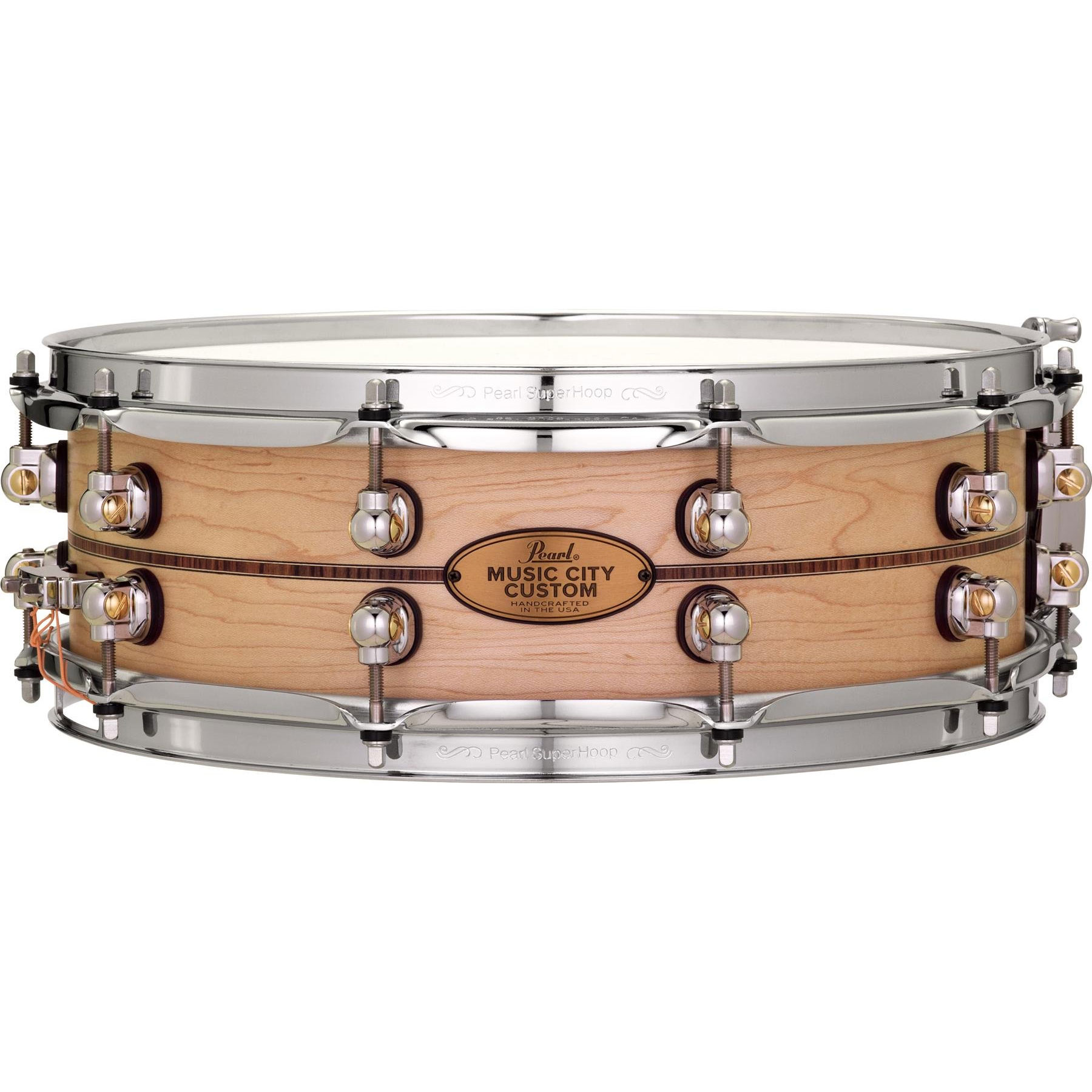 """Pearl 14"""" x 5"""" Music City Custom Solid Maple Snare Drum with Kingwood Center Inlay"""