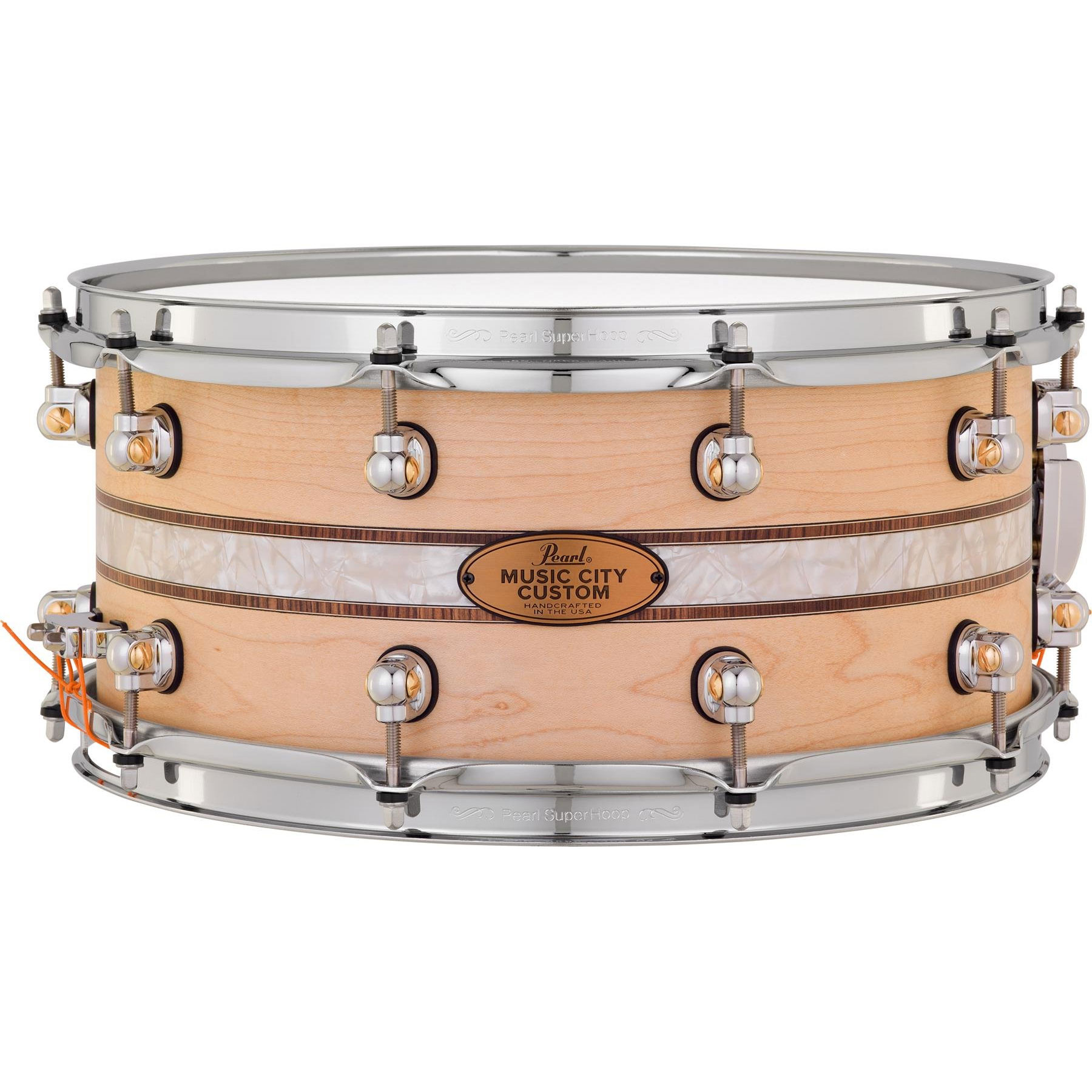 """Pearl 14"""" x 6.5"""" Music City Custom Solid Maple Snare Drum with Kingwood Royal Inlay"""