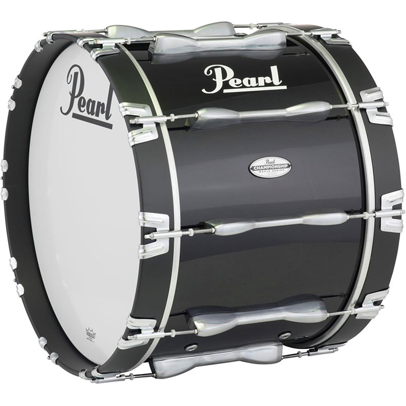 "Pearl 18"" Championship Maple Marching Bass Drum in Piano Black Lacquer"
