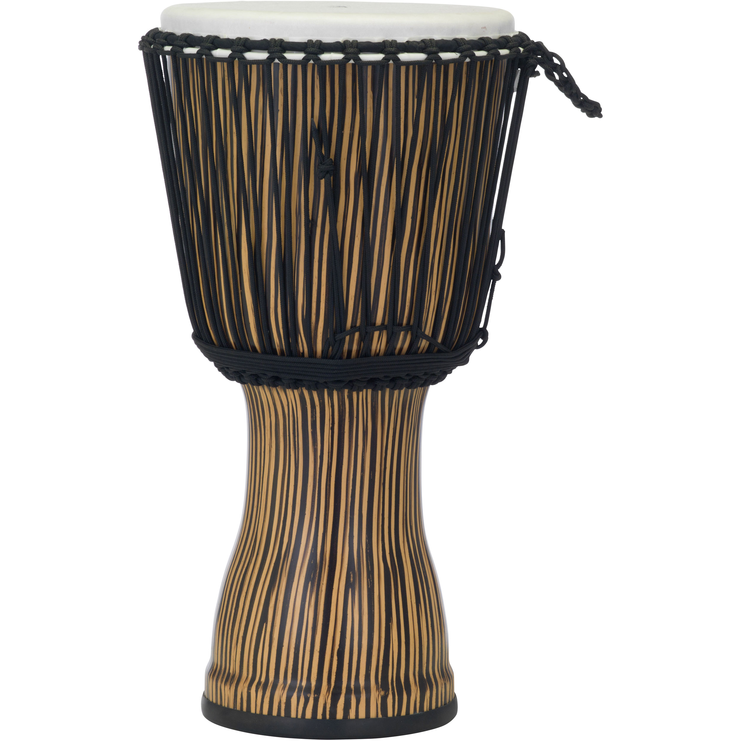 "Pearl 12"" Rope Tuned Djembe in Zebra Grass"