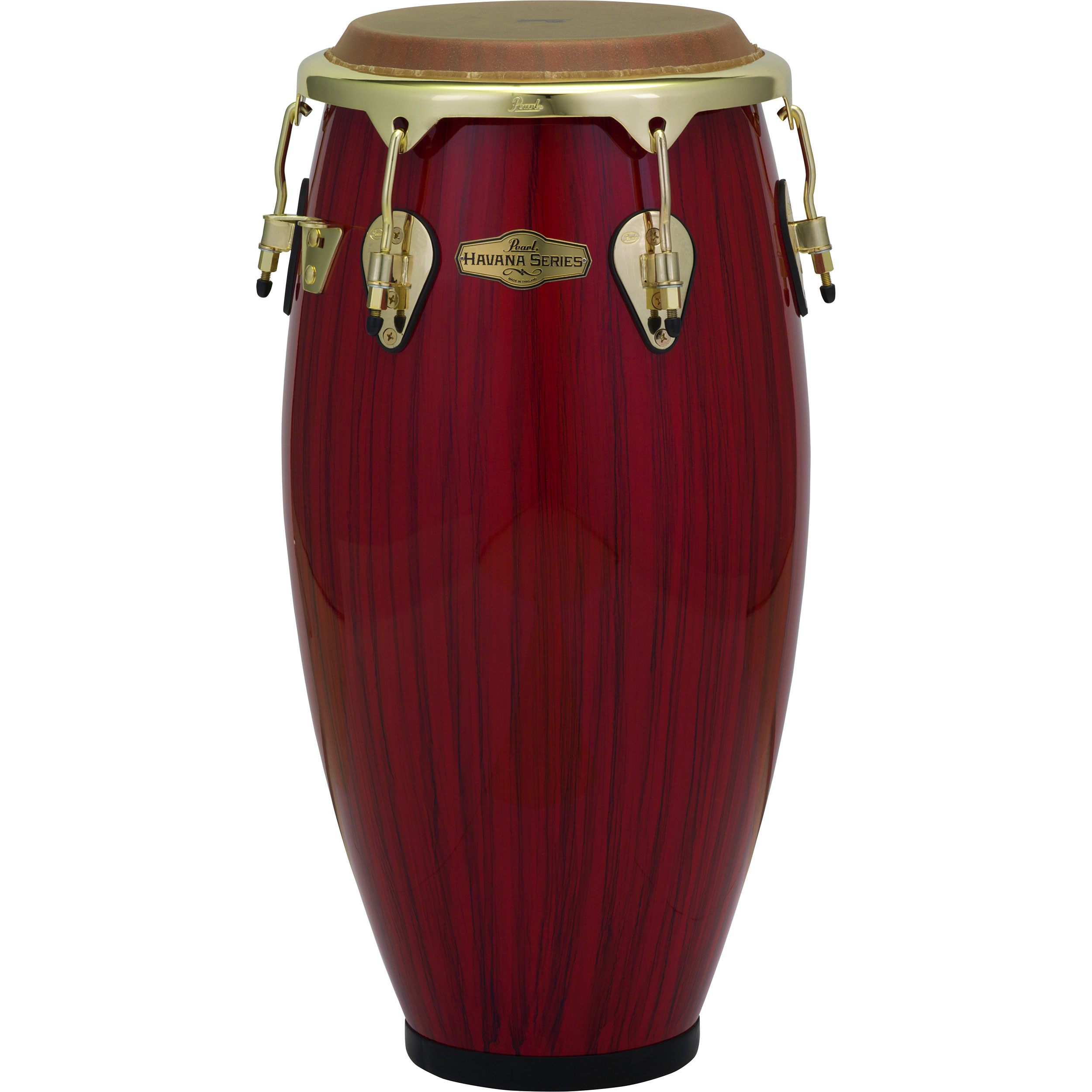 """Pearl 11"""" Havana Series Fiberglass Quinto Conga in Red Tiger Stripe with Gold Hardware"""