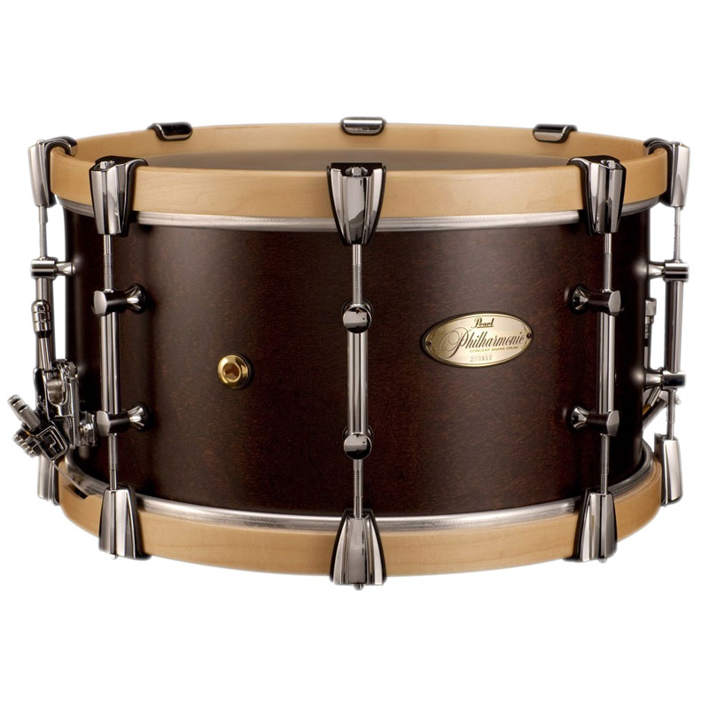 "Pearl 15"" x 8"" Philharmonic 4-Ply African Mahogany Concert Snare Drum with Natural Maple Hoops in Matte Walnut"