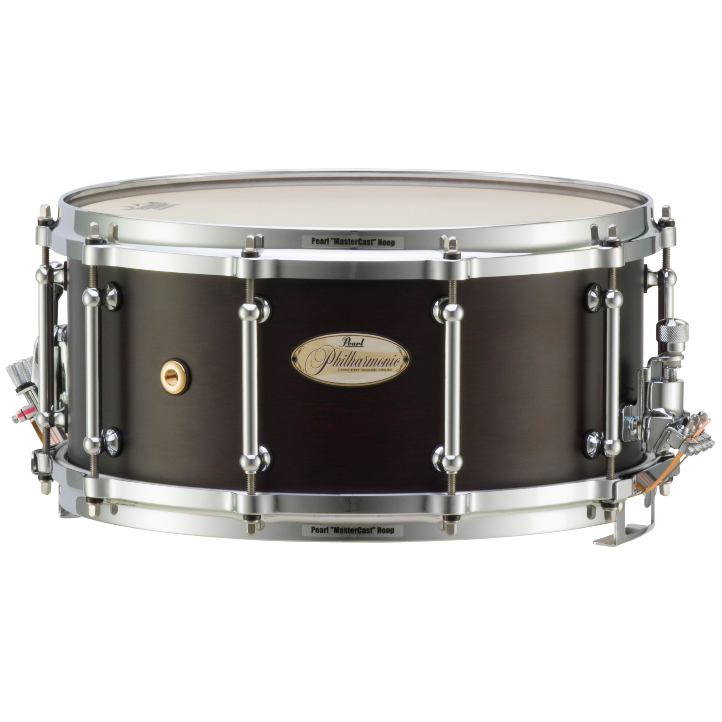 """Pearl 14"""" x 6.5"""" Philharmonic 4-Ply African Mahogany Concert Snare Drum in Matte Walnut"""