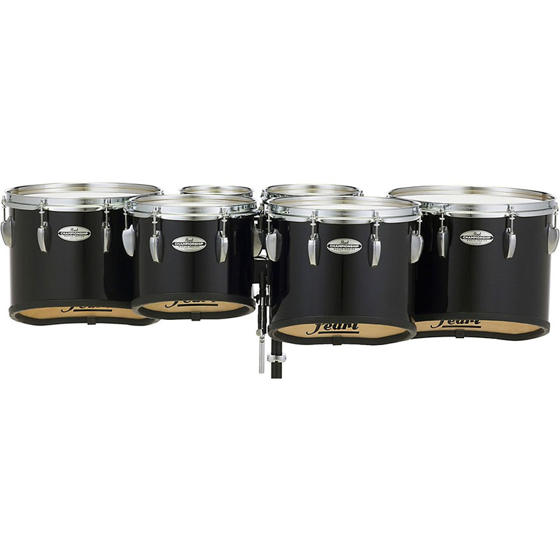 "Pearl 6-10-12-13-14"" Championship CarbonCore Shallow-Cut Marching Tenors in Piano Black Lacquer"