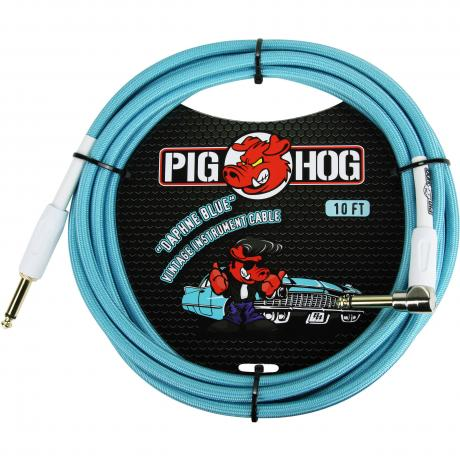 Pig Hog Solutions 10' Vintage Series Daphne Blue Right Angle Instrument Cable