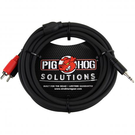 Pig Hog Solutions 10' 3.5mm to Dual RCA Stereo Breakout Cable