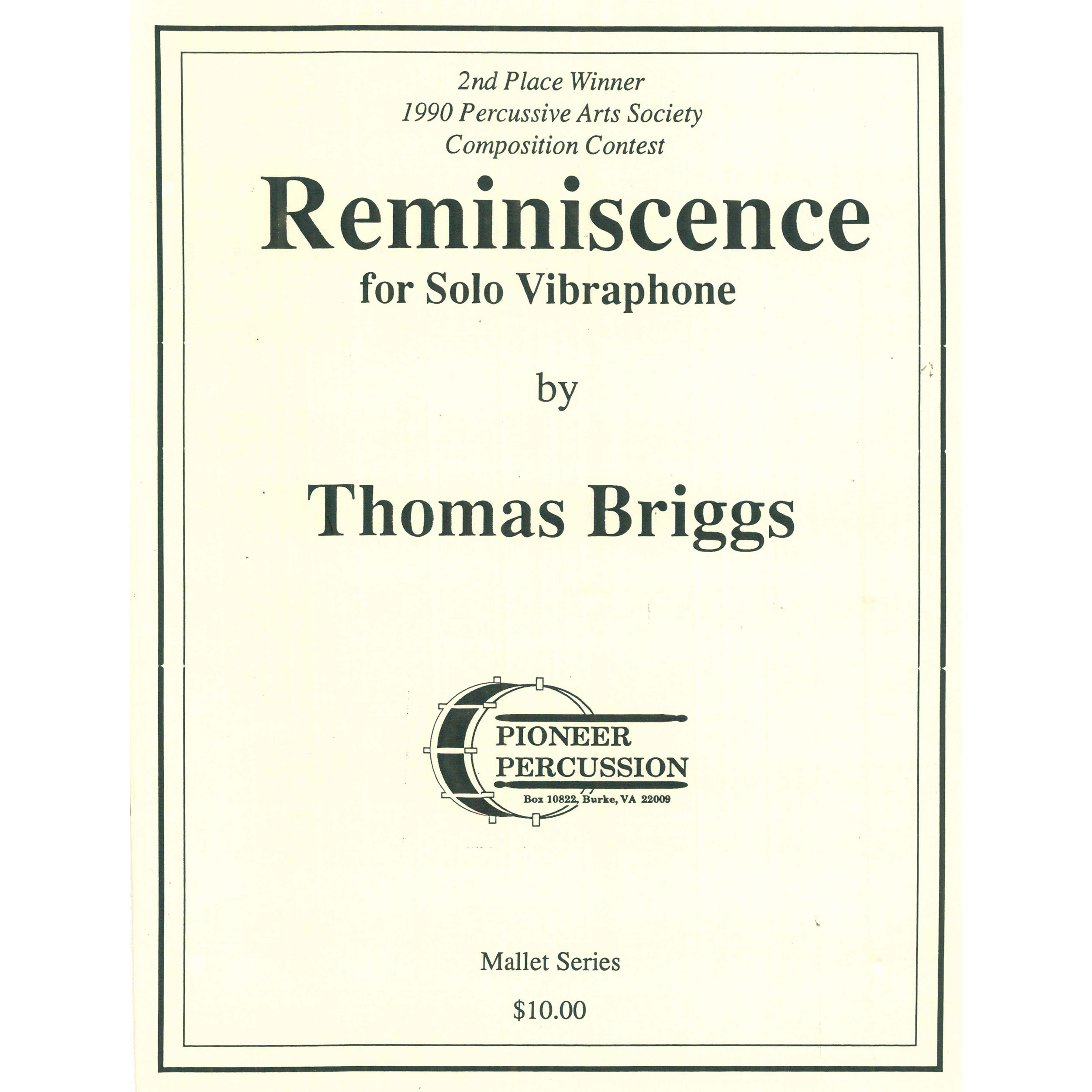 Reminiscence for Solo Vibraphone by Thomas Briggs