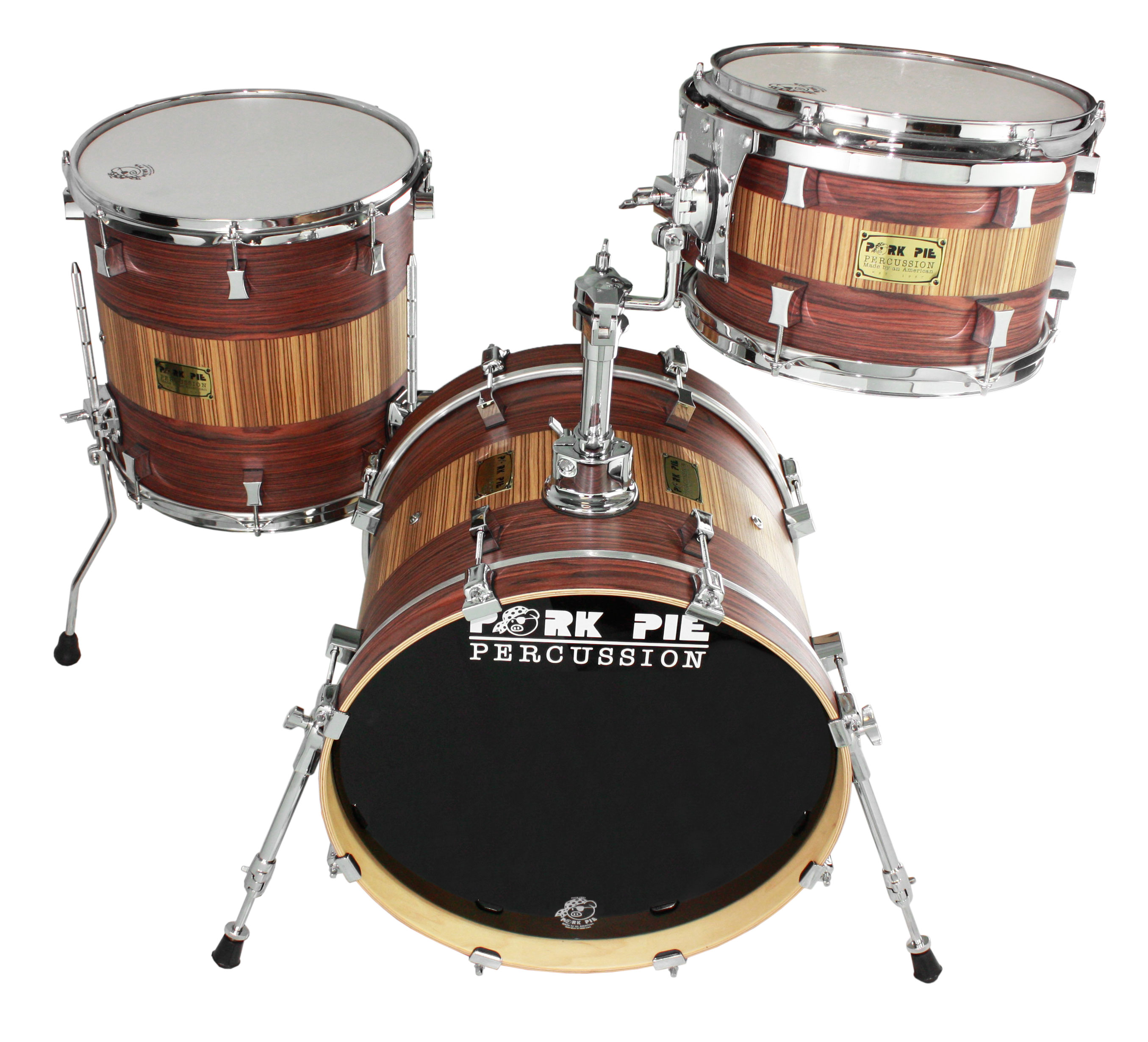 "Pork Pie Percussion USA Bop 3-Piece Drum Set Shell Pack (18"" Bass, 12/14"" Toms) in Rosewood Zebrawood"