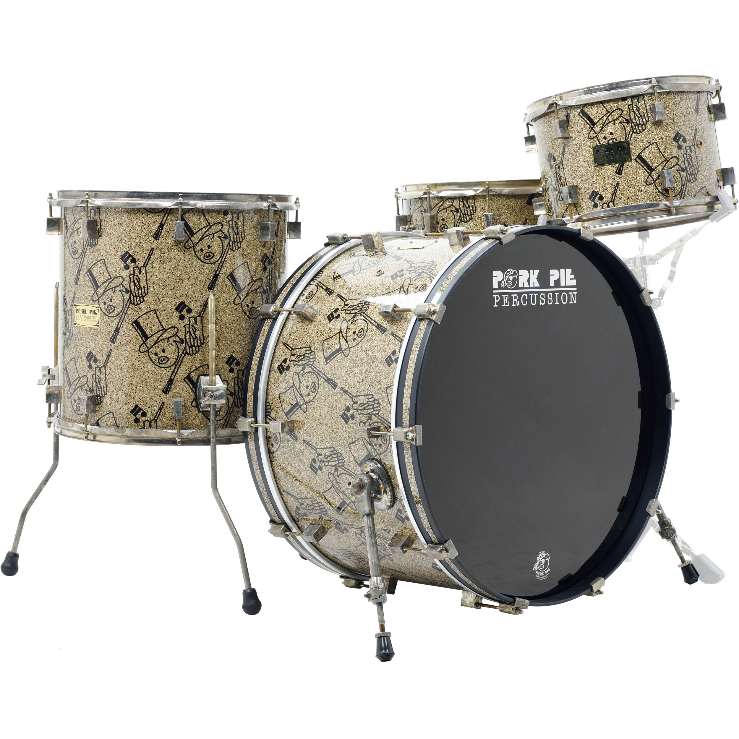 "Pork Pie Percussion USA Custom Maple Drum Set Shell Pack (24"" Bass, 13/16"" Toms, 14"" Snare) in Top Hat with Aged Hardware"