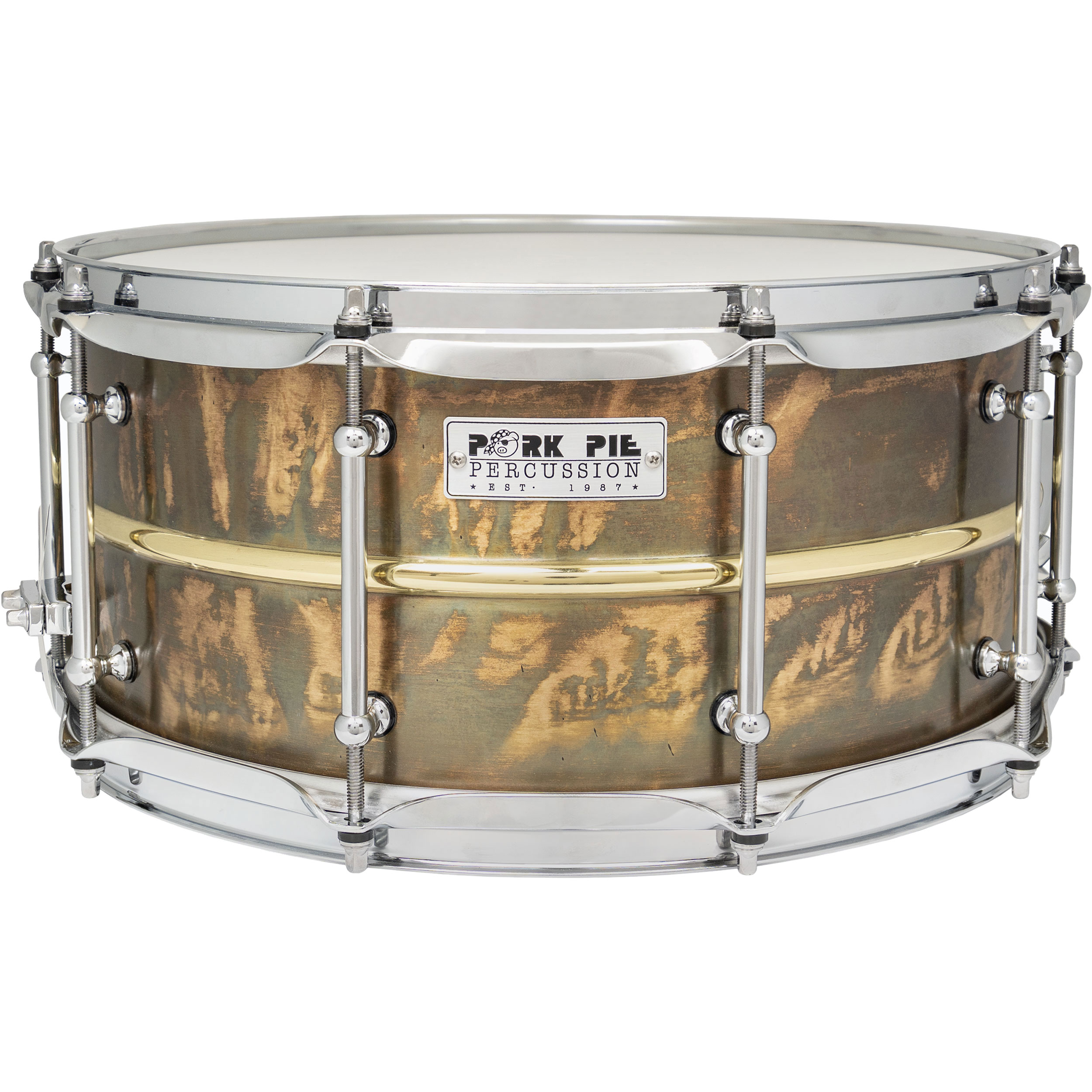 """Pork Pie Percussion 6.5"""" x 14"""" Patina Brass Snare Drum with Polished Bead"""