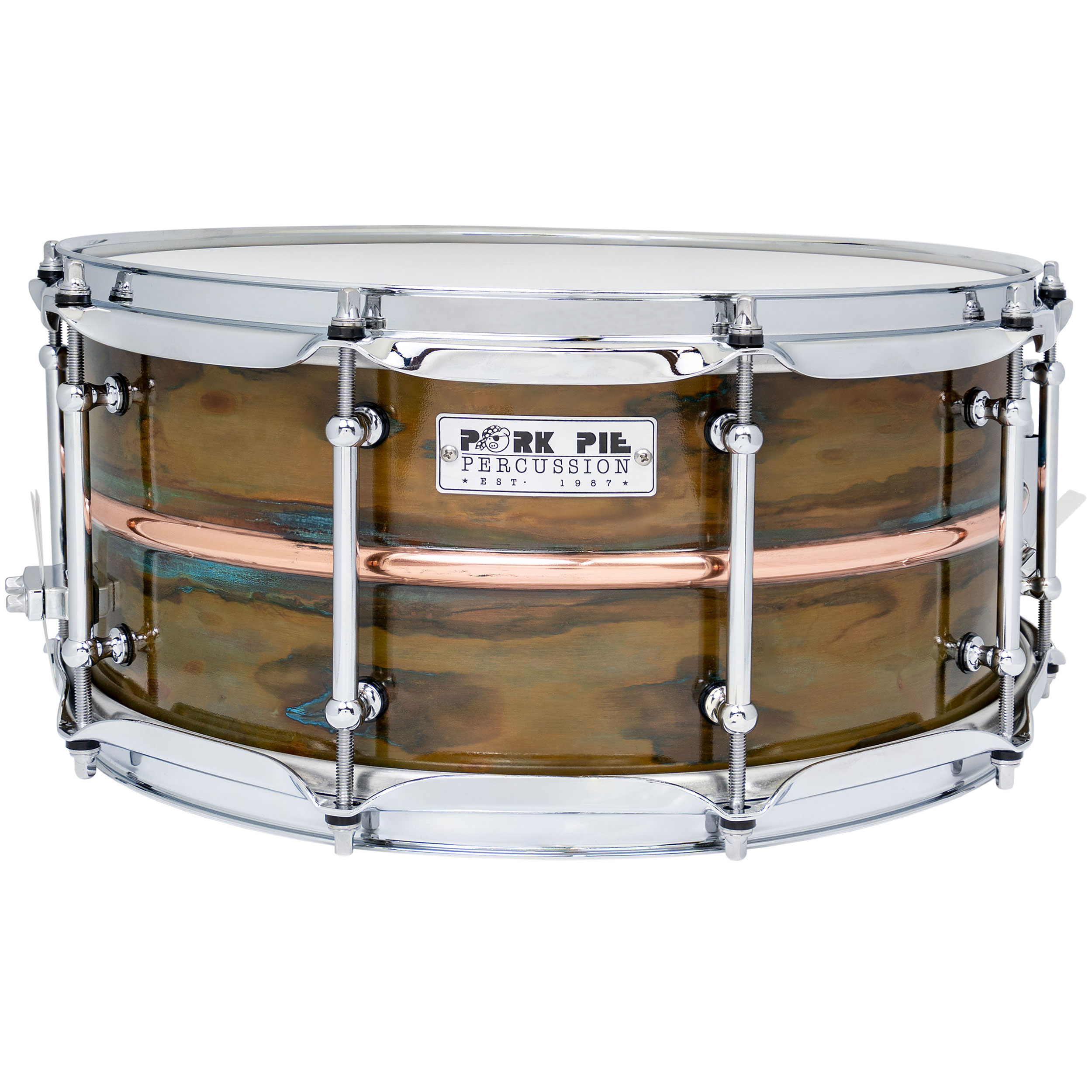 """Pork Pie Percussion 6.5"""" x 14"""" Copper Patina Snare Drum with Polished Bead"""