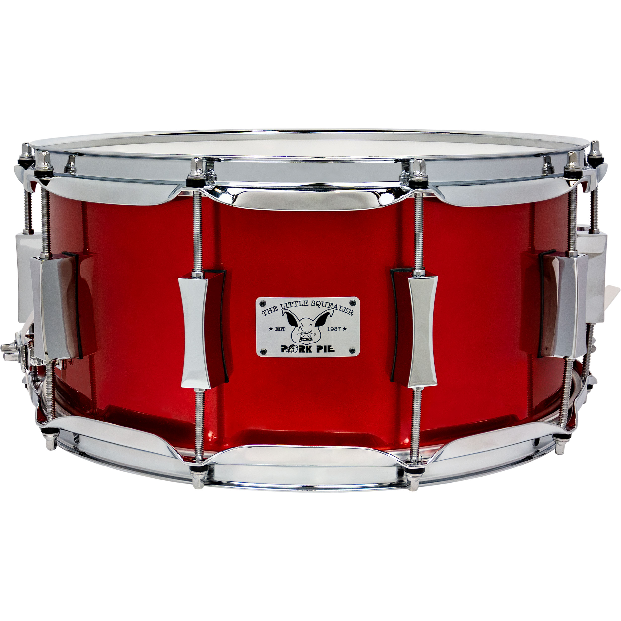"""Pork Pie Percussion 6.5"""" x 14"""" Little Squealer Snare Drum in Firethorn Red"""