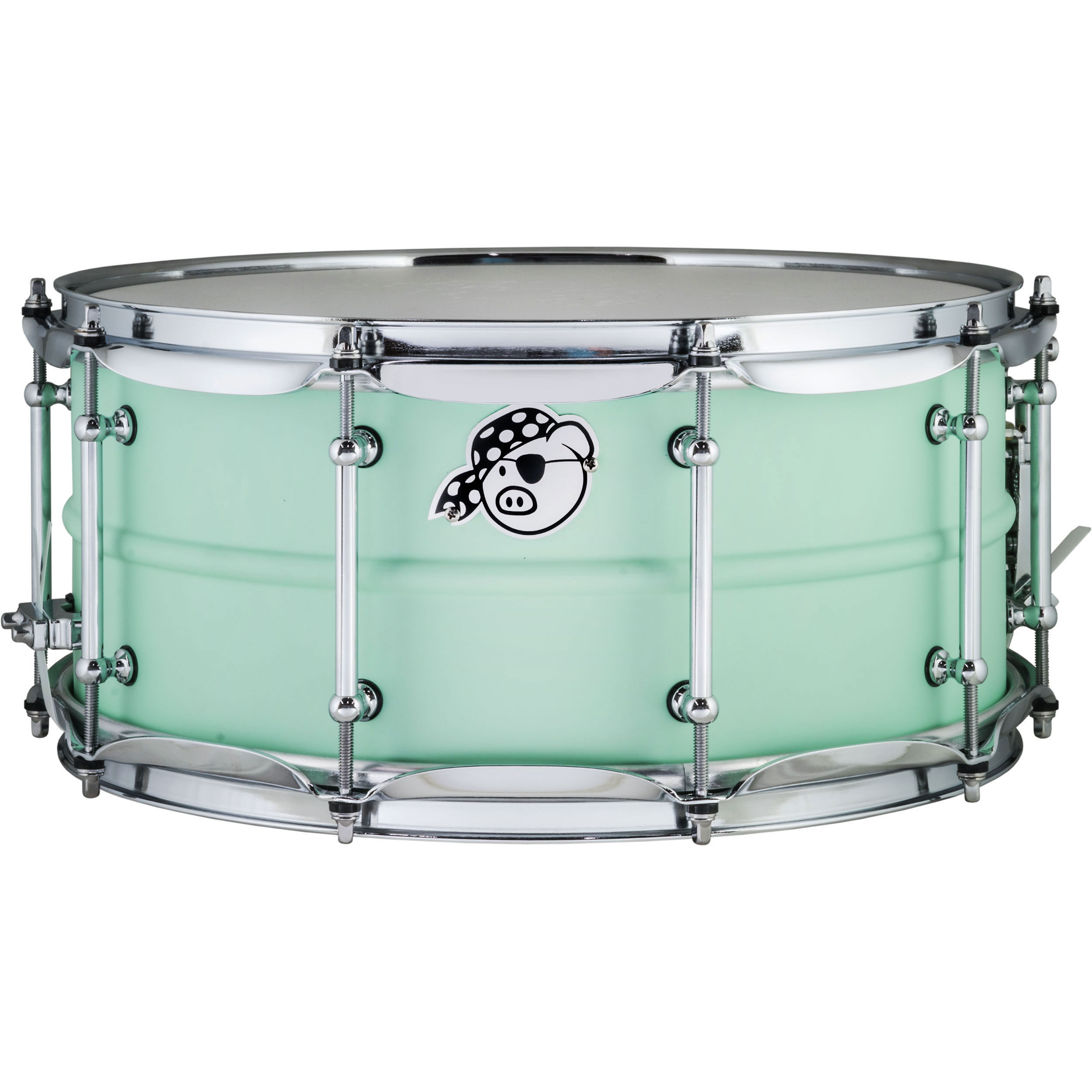 "Pork Pie Percussion 6.5"" x 14"" Aluminum Snare Drum in Sea Foam Green"