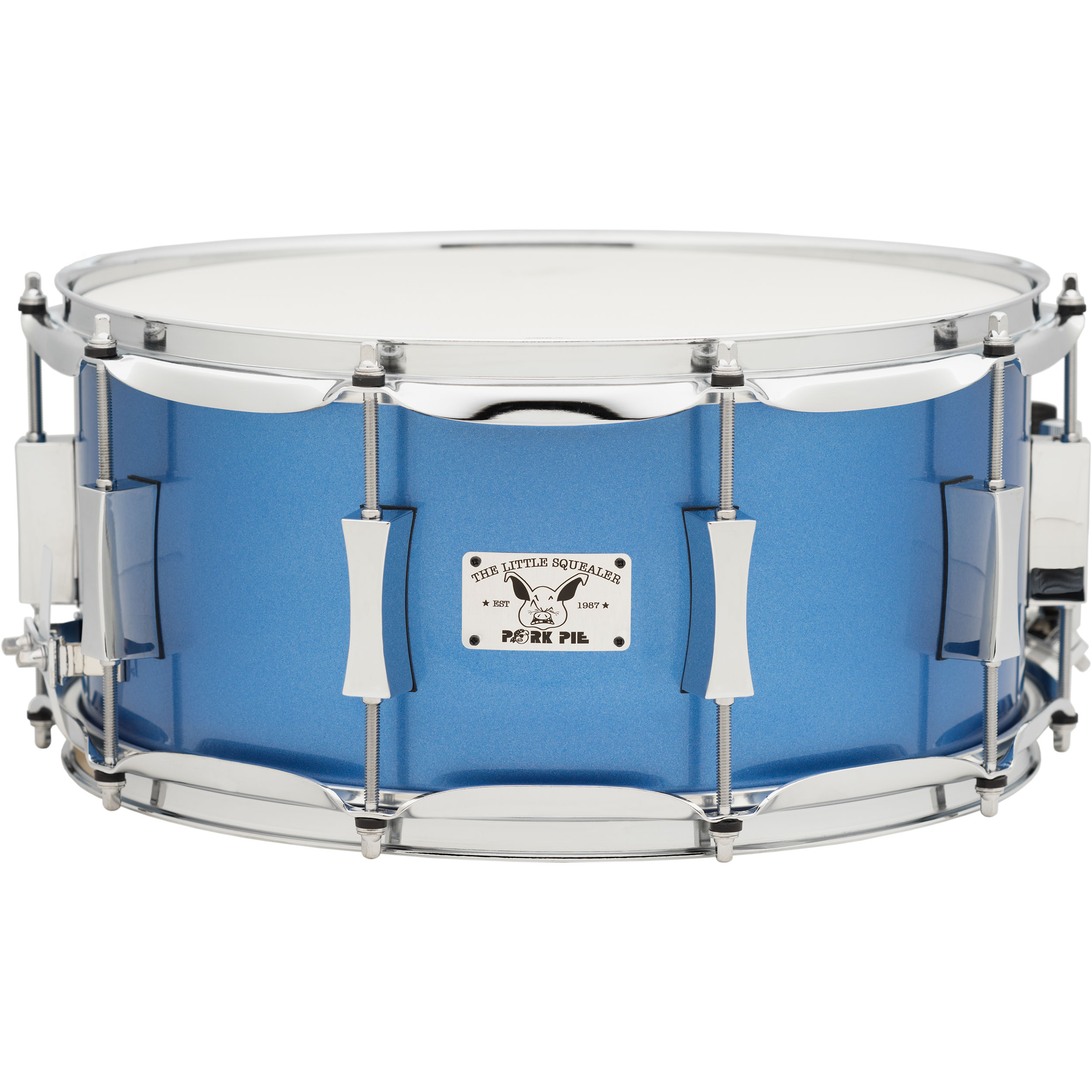 "Pork Pie Percussion 6.5"" x 14"" Little Squealer Birch/Mahogany Snare Drum in Porcaro Blue Metallic Lacquer"