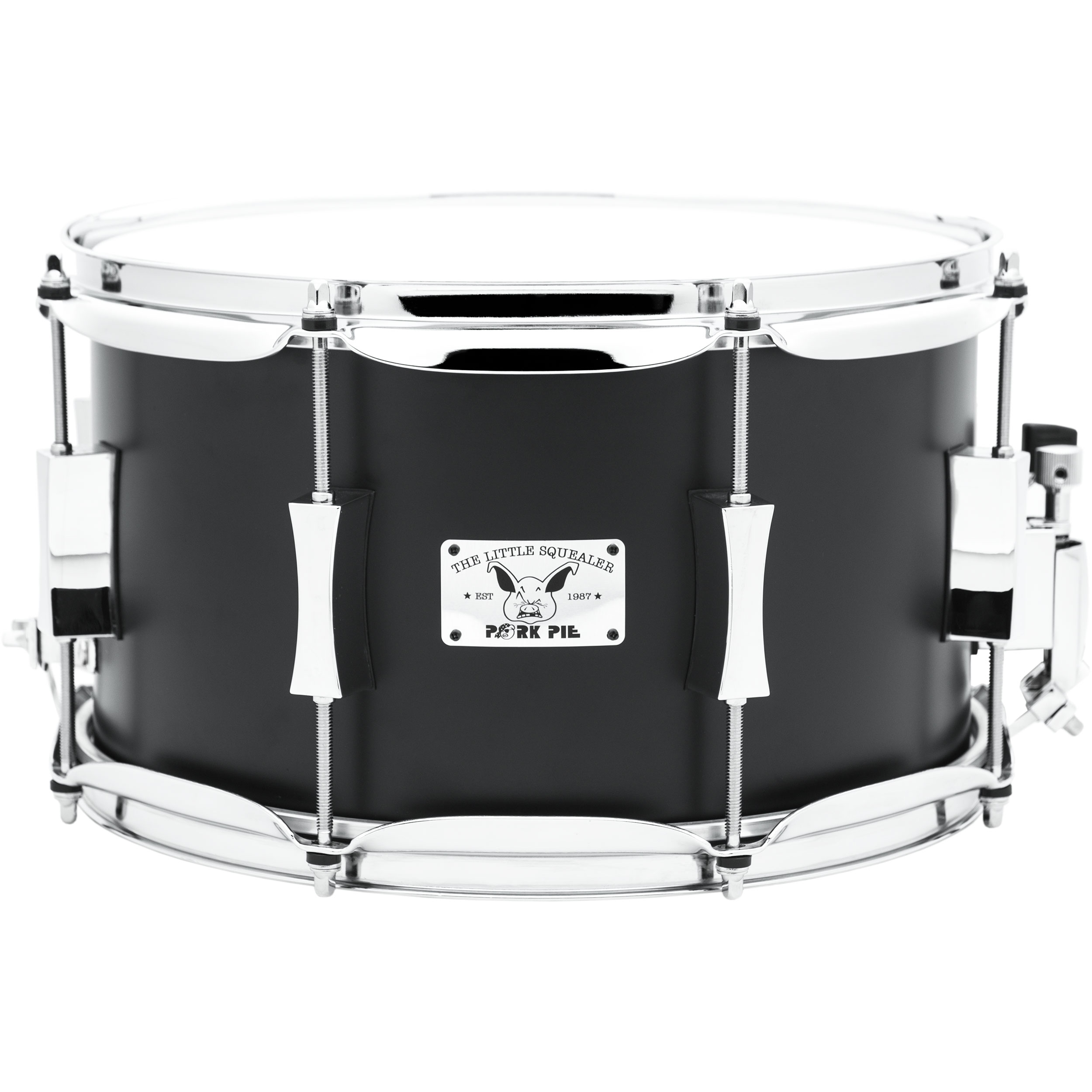 "Pork Pie Percussion 7"" x 12"" Little Squealer Maple/Birch Snare Drum in Flat Black"