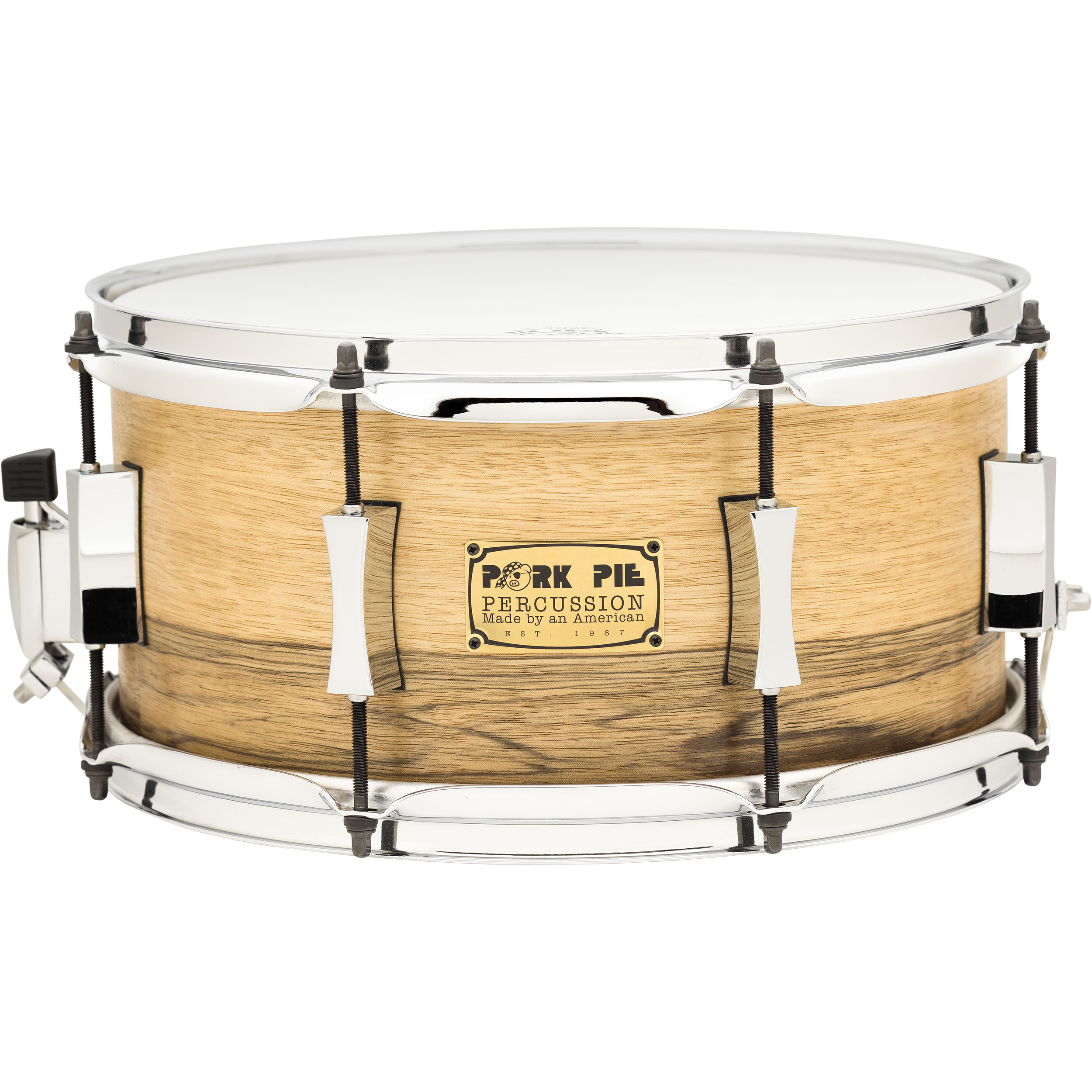 "Pork Pie Percussion 7"" x 13"" Oak Snare Drum with African Marble Veneer"