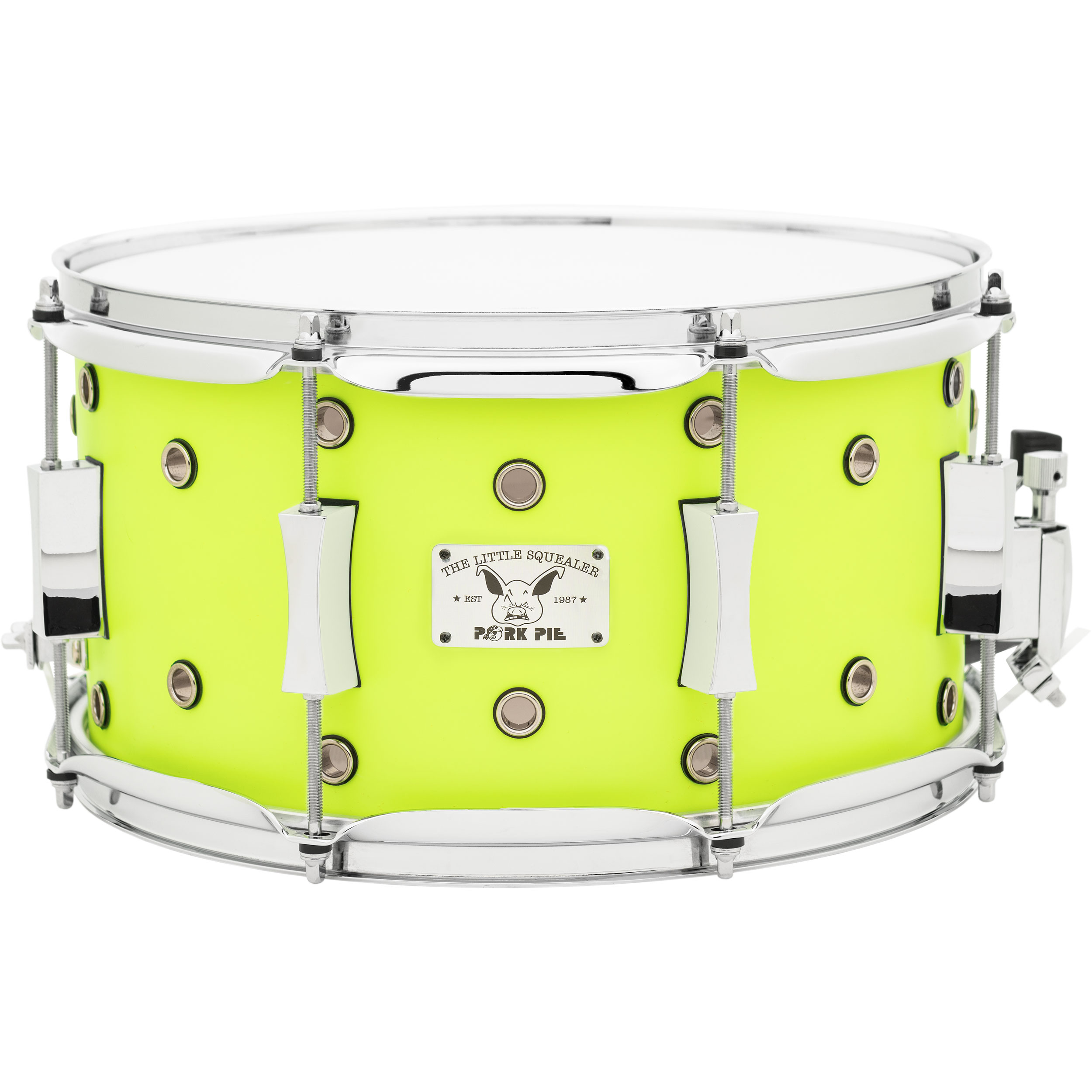 "Pork Pie Percussion 7"" x 13"" Vented Little Squealer Maple Snare Drum in Flat Neon Yellow"