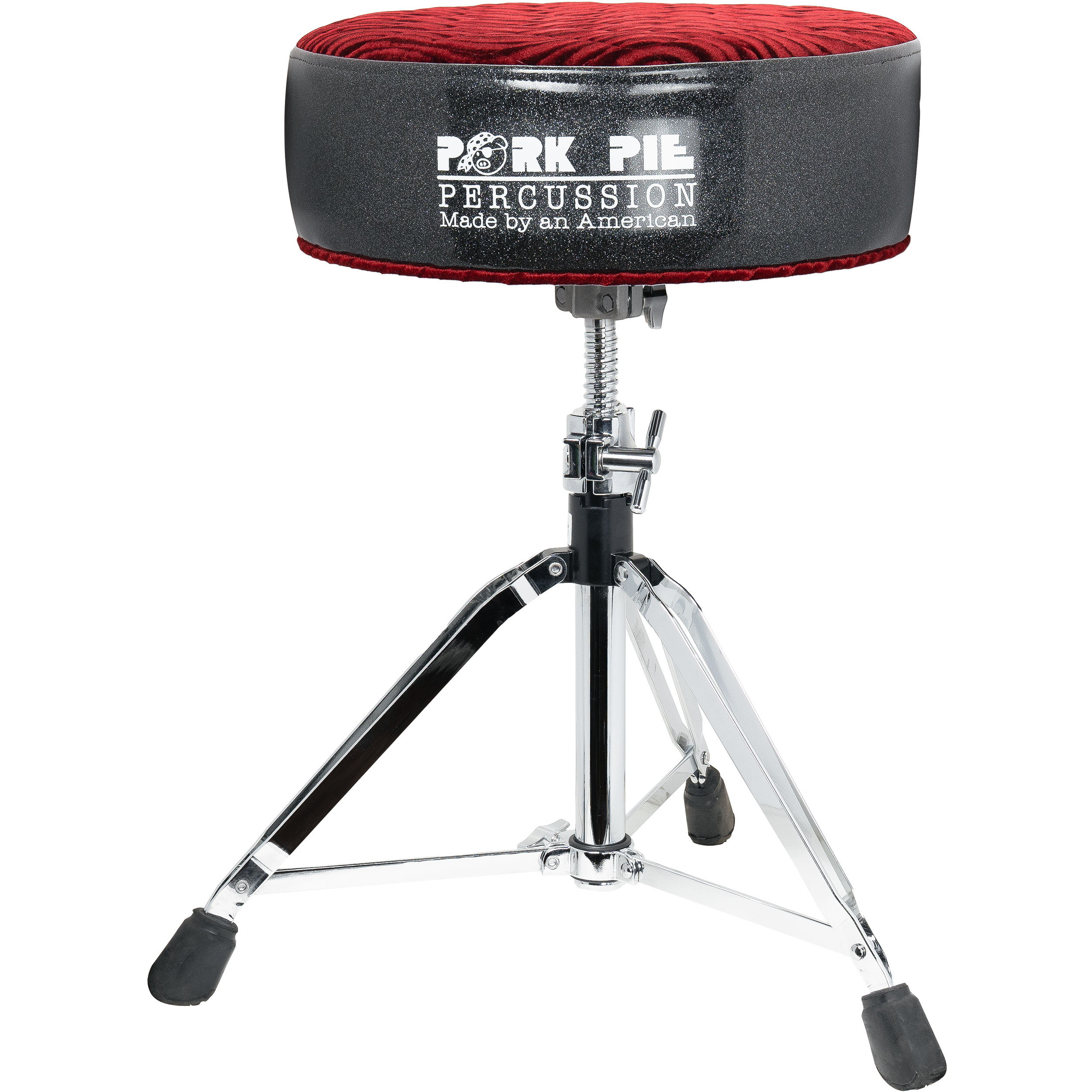 Pork Pie Percussion Round Top Throne with Charcoal Sparkle Side and Maroon Swirl Quilted Top