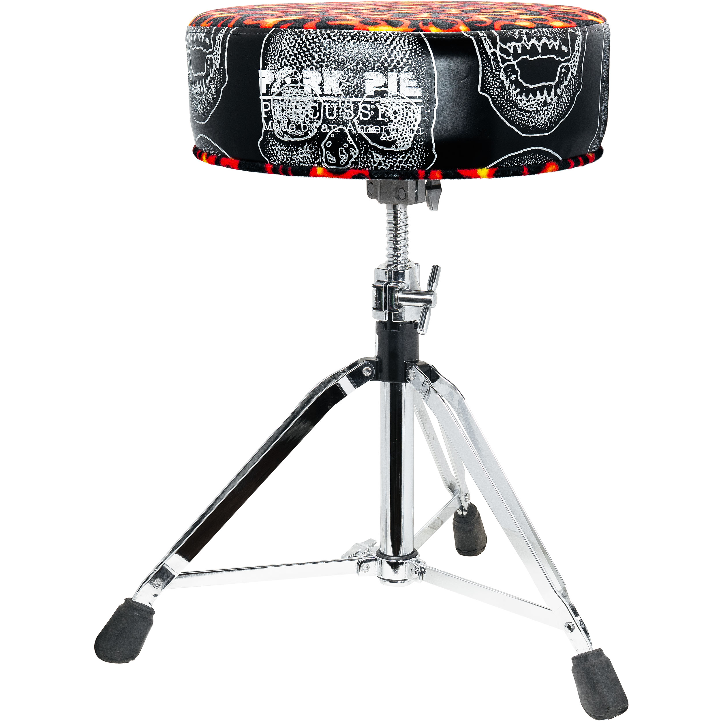 Pork Pie Percussion Round Top Throne with Skull Side and Flame Top