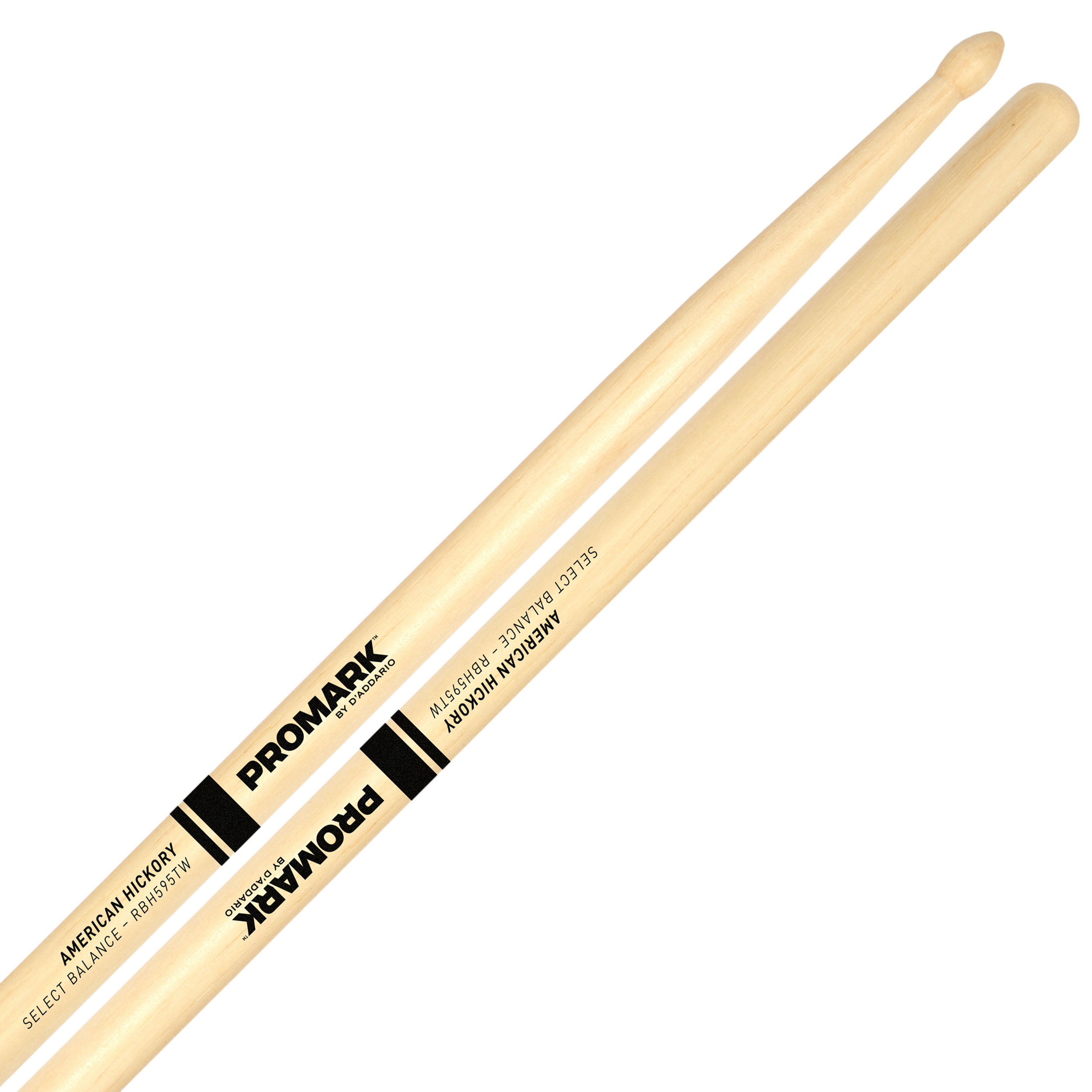 "Promark Rebound 5B (.595"") Hickory Drumsticks with Teardrop Wood Tips"