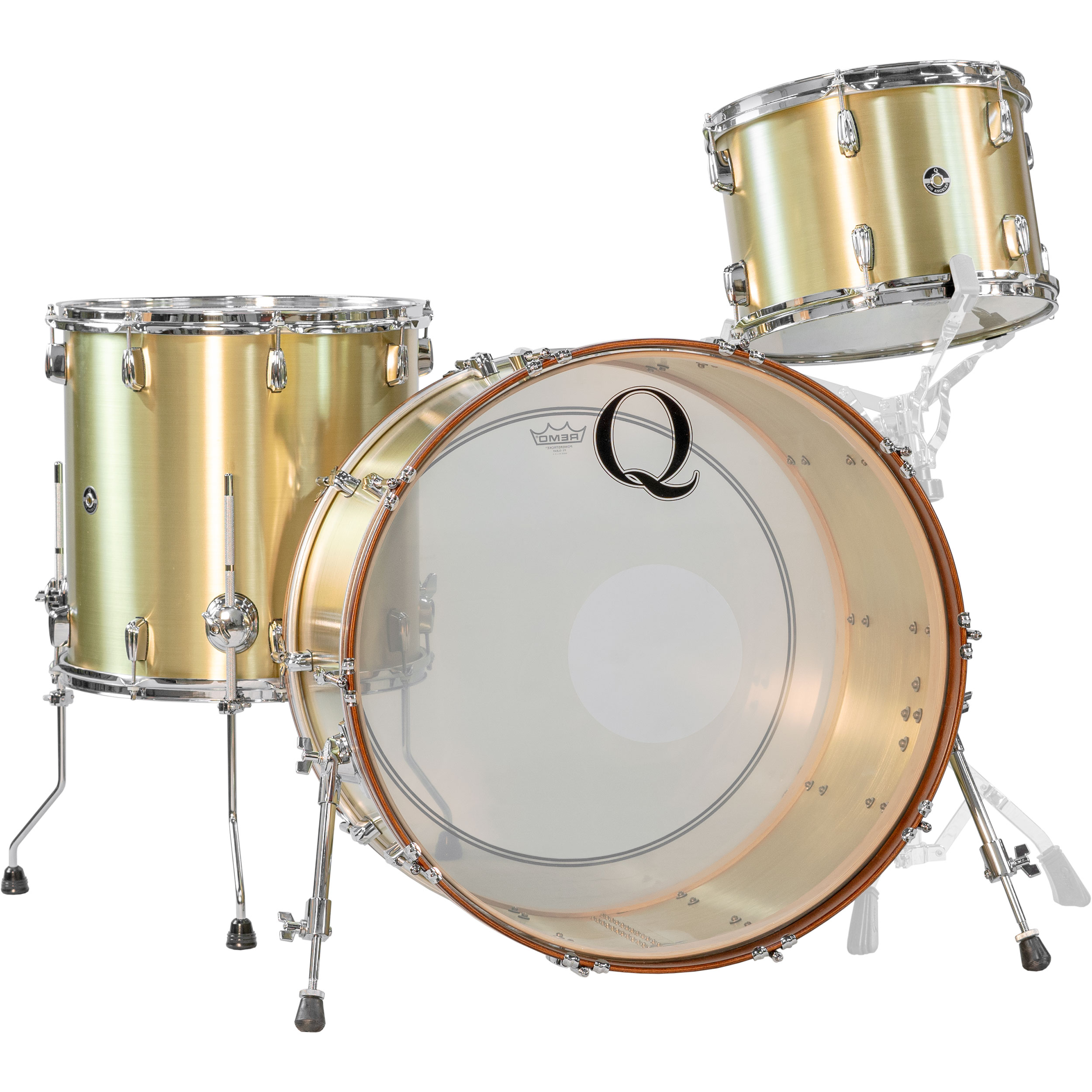 "Q Drum Co. 3-Piece Brass Drum Set Shell Pack (24"" Bass, 13/16"" Toms) in Raw Finish"