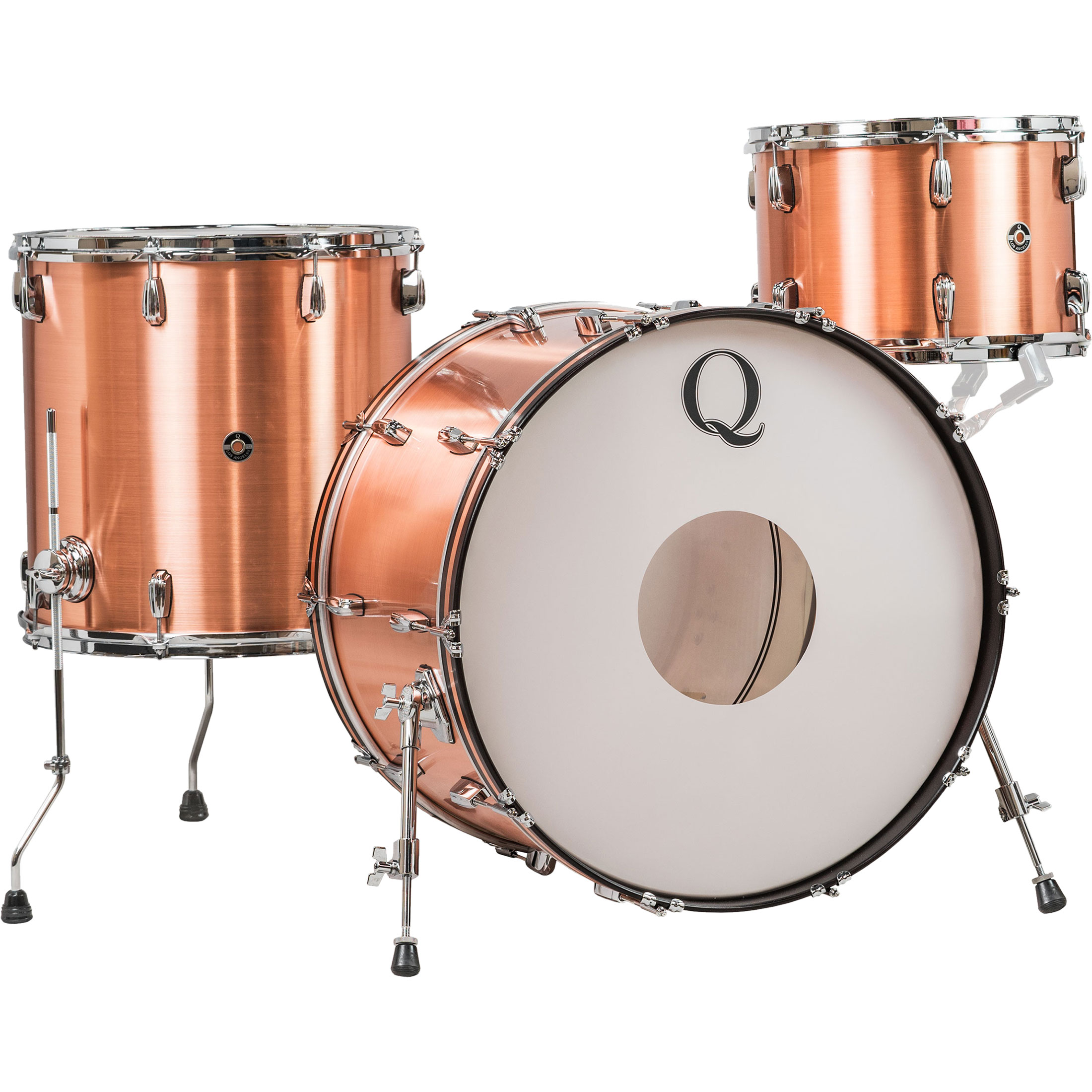 Q Drum Co. 3-Piece Raw Copper Drum Set Shell Pack (22B-13-16F)