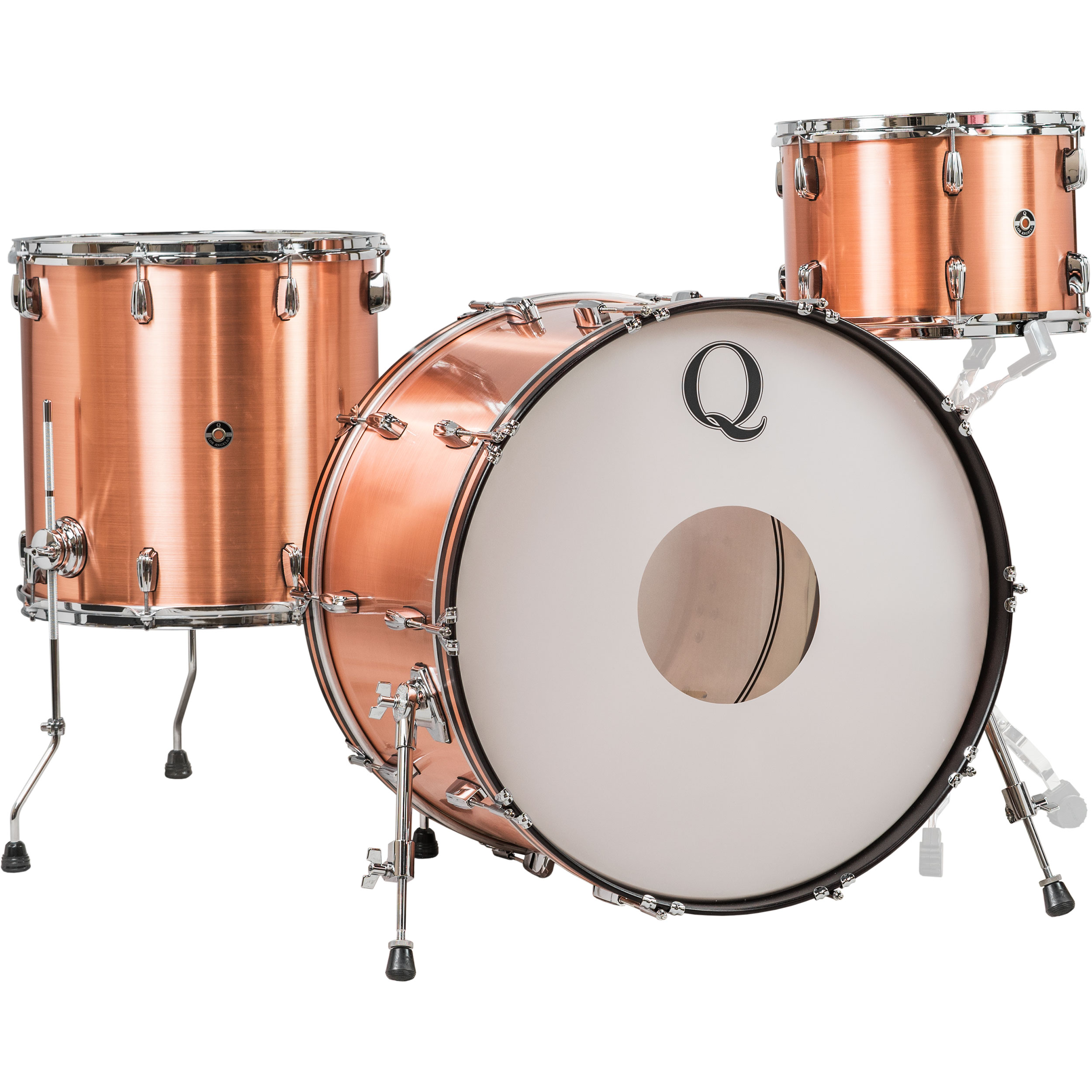 "Q Drum Co. 3-Piece Copper Drum Set Shell Pack (24"" Bass, 13/16"" Toms) in Raw Finish"